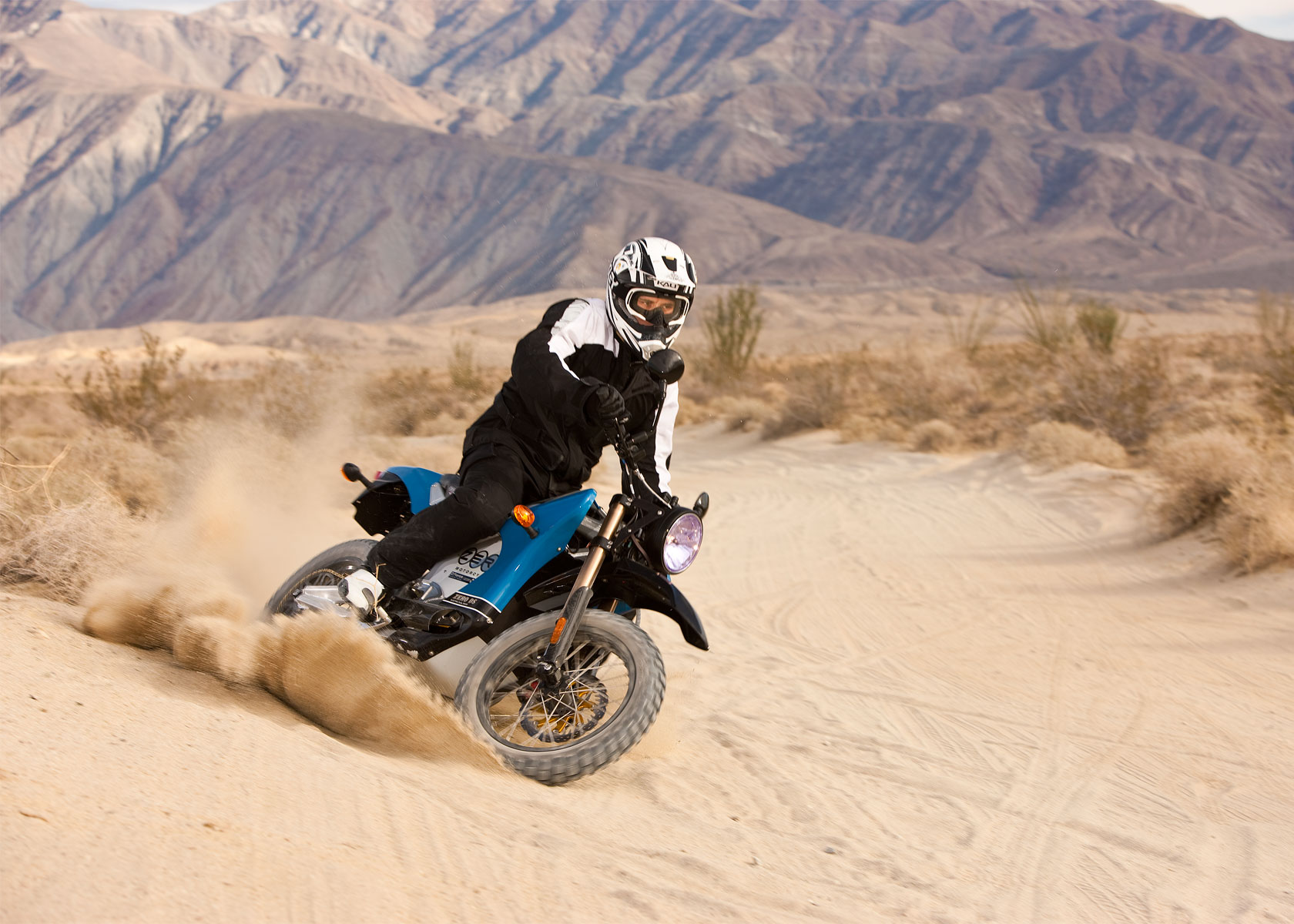'.2010 Zero DS Electric Motorcycle: Anza Borego - Fishtail in Sand.'