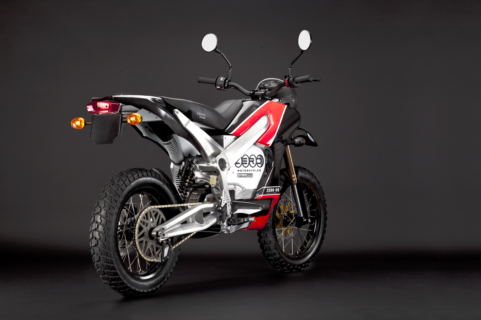'.2010 Zero DS Electric Motorcycle: Red Angle Rear.'