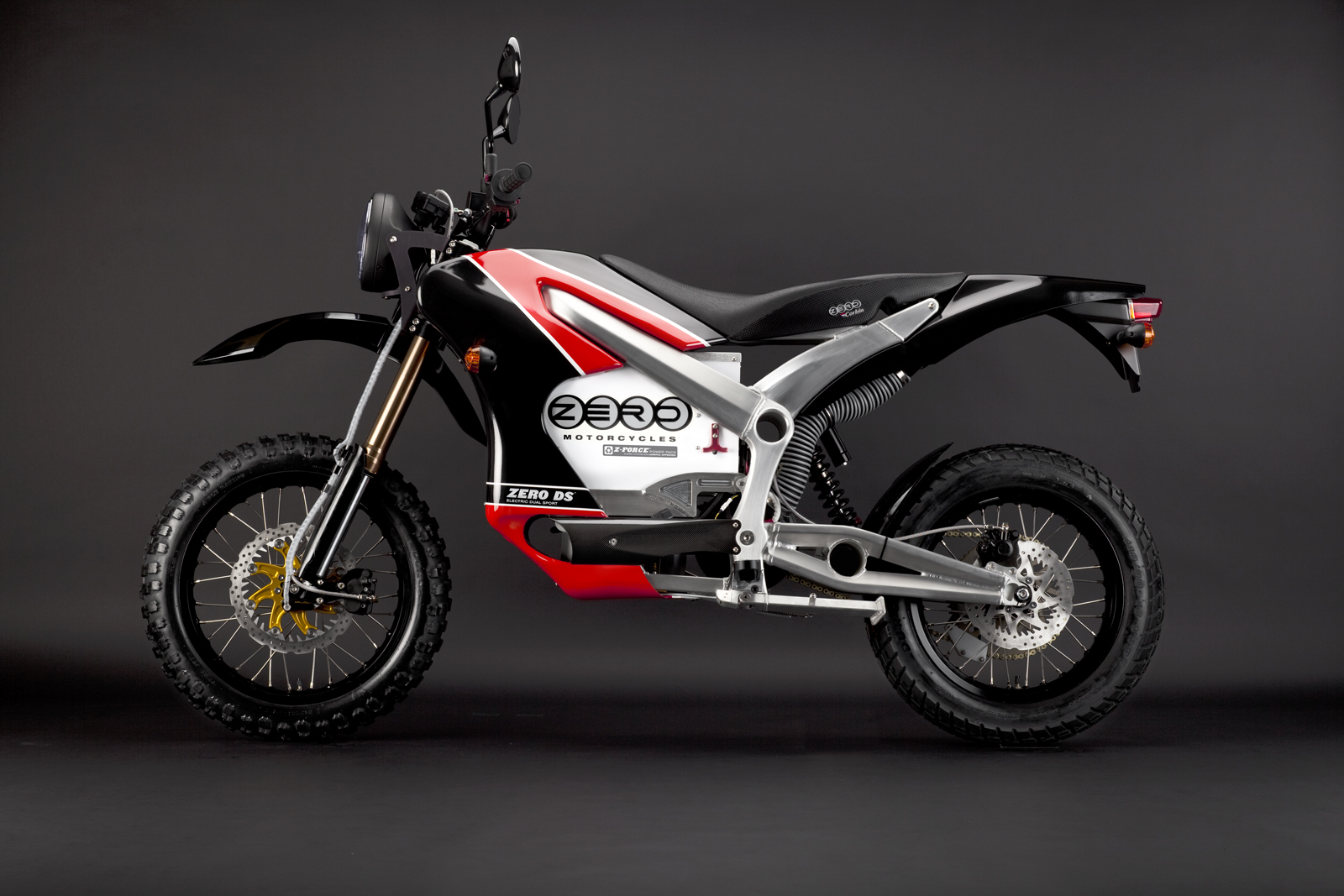 '.2010 Zero DS Electric Motorcycle: Red Profile Left.'