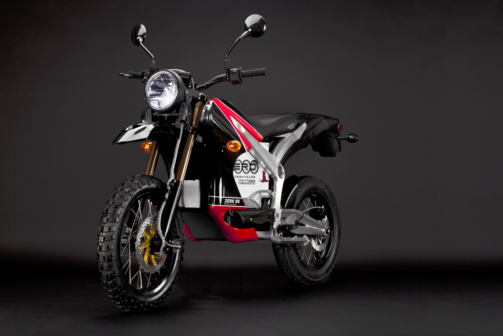 '.2010 Zero DS Electric Motorcycle: Red Angle Left.'