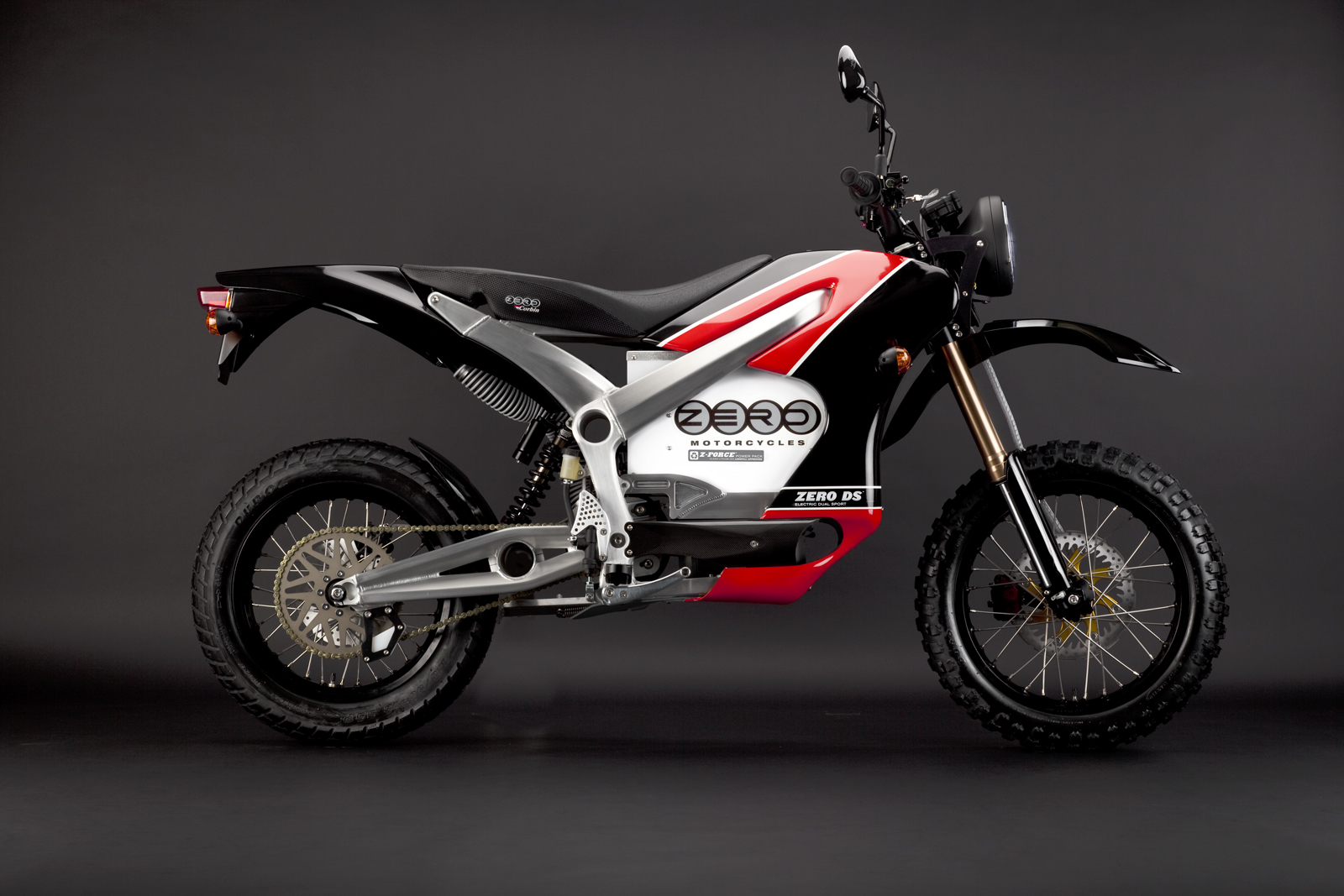 '.2010 Zero DS Electric Motorcycle: Red Profile Right.'
