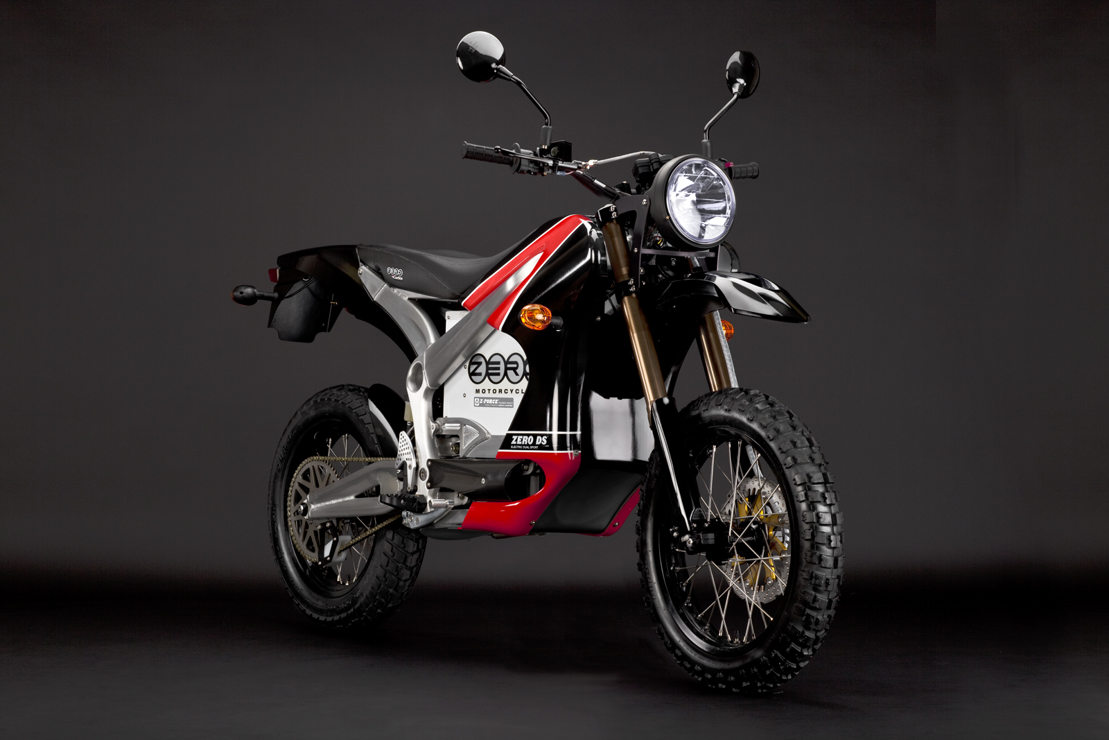 '.2010 Zero DS Electric Motorcycle: Red Angle Right.'