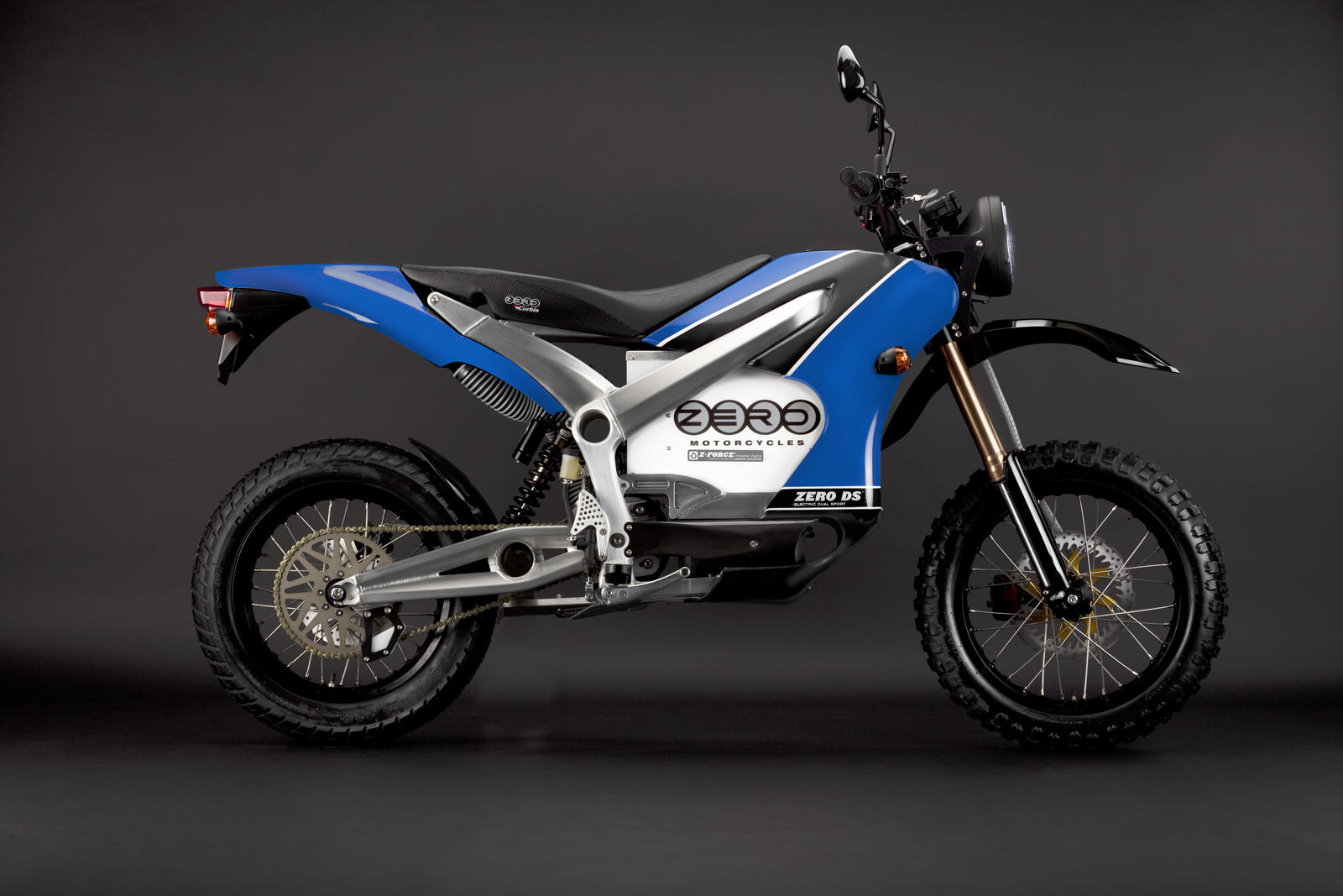 2010 Zero DS Electric Motorcycle: Blue Profile Right