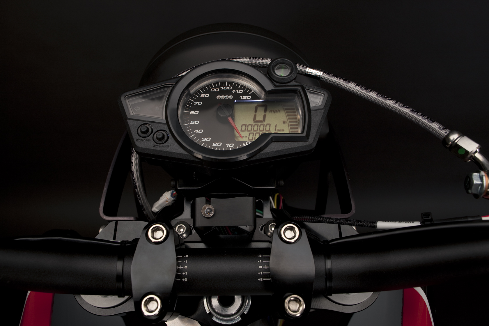 '.2010 Zero DS Electric Motorcycle: Gauge Cluster.'