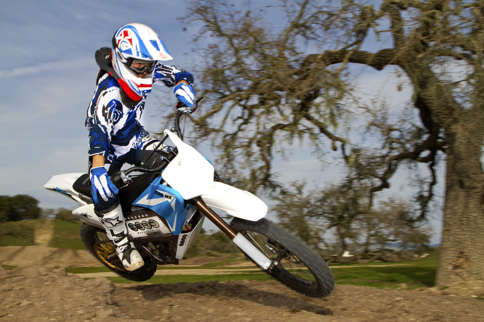 '.2010 Zero MX Electric Motorcycle: Zaca Station - Sideways Jump Inward.'