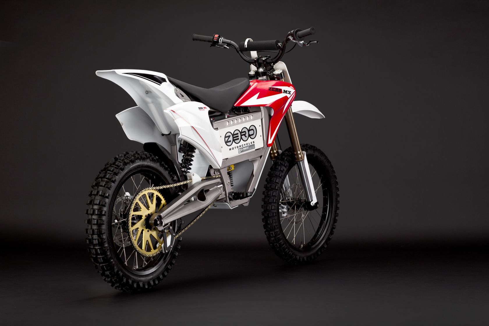 '.2010 Zero MX Electric Motorcycle: Red Angle Rear.'