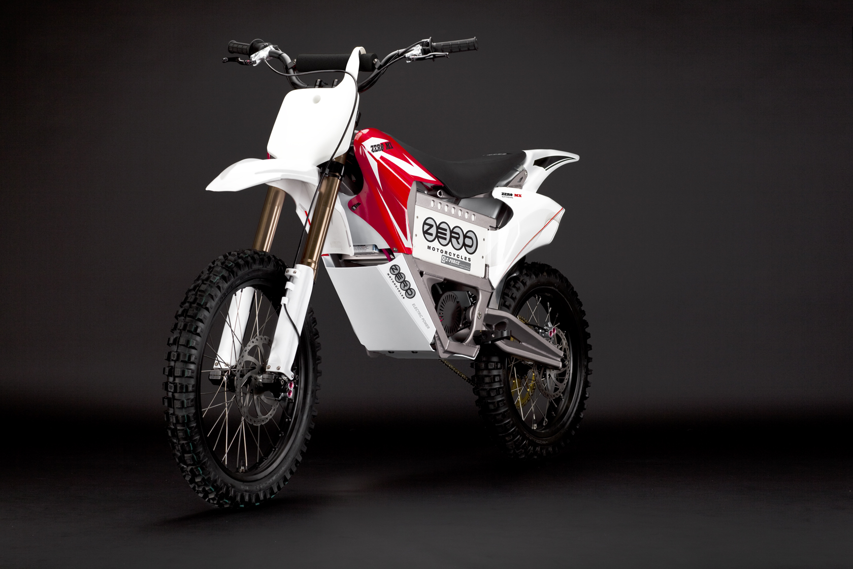 2010 Zero MX Electric Motorcycle: Red Angle Left
