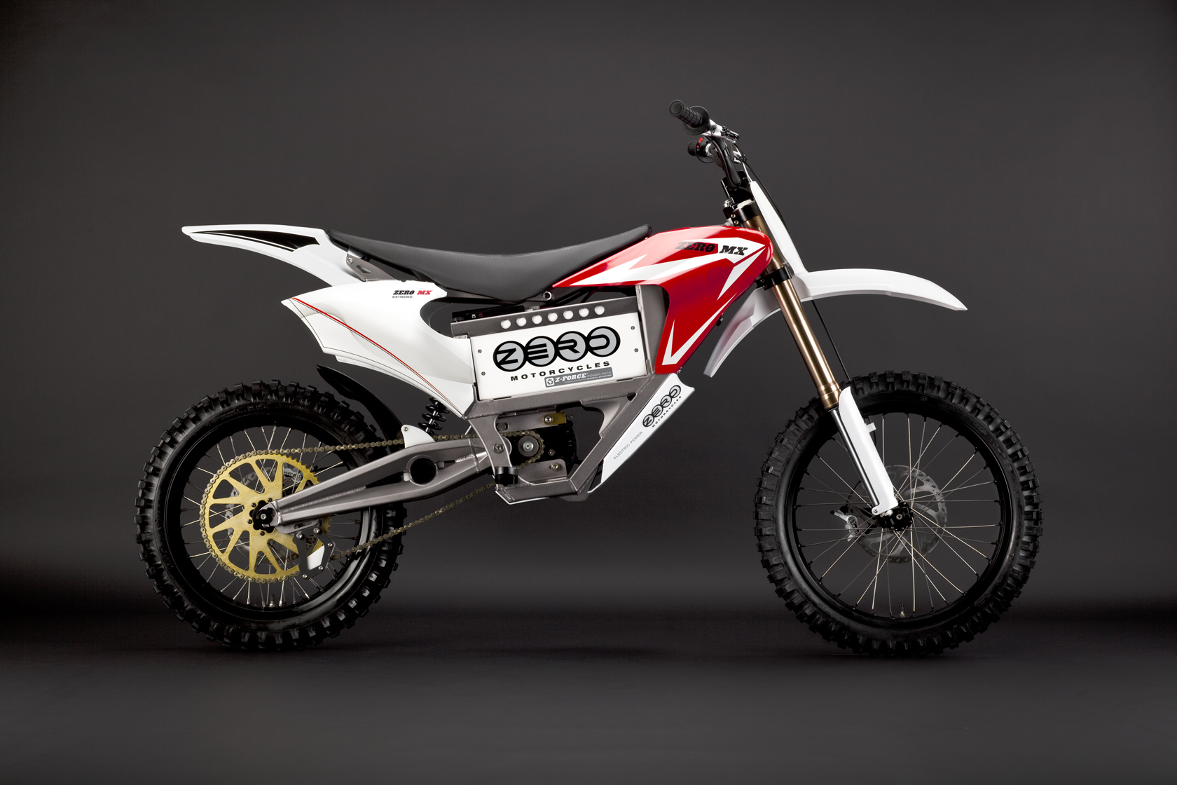 '.2010 Zero MX Electric Motorcycle: Red Profile Right.'