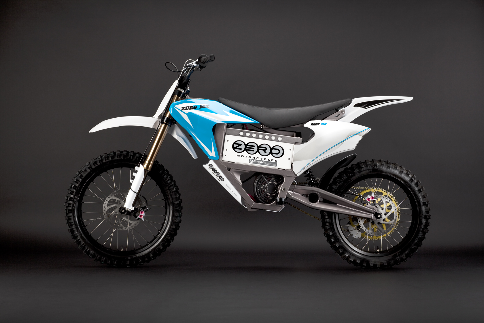 2010 Zero MX Electric Motorcycle: Blue Profile Left