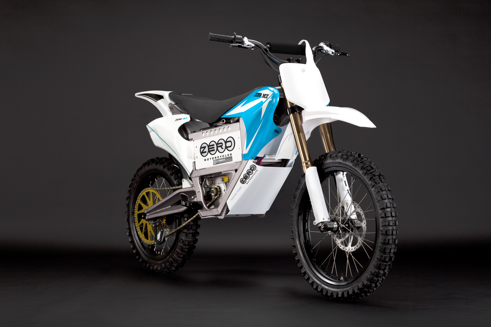 '.2010 Zero MX Electric Motorcycle: Blue Angle.'