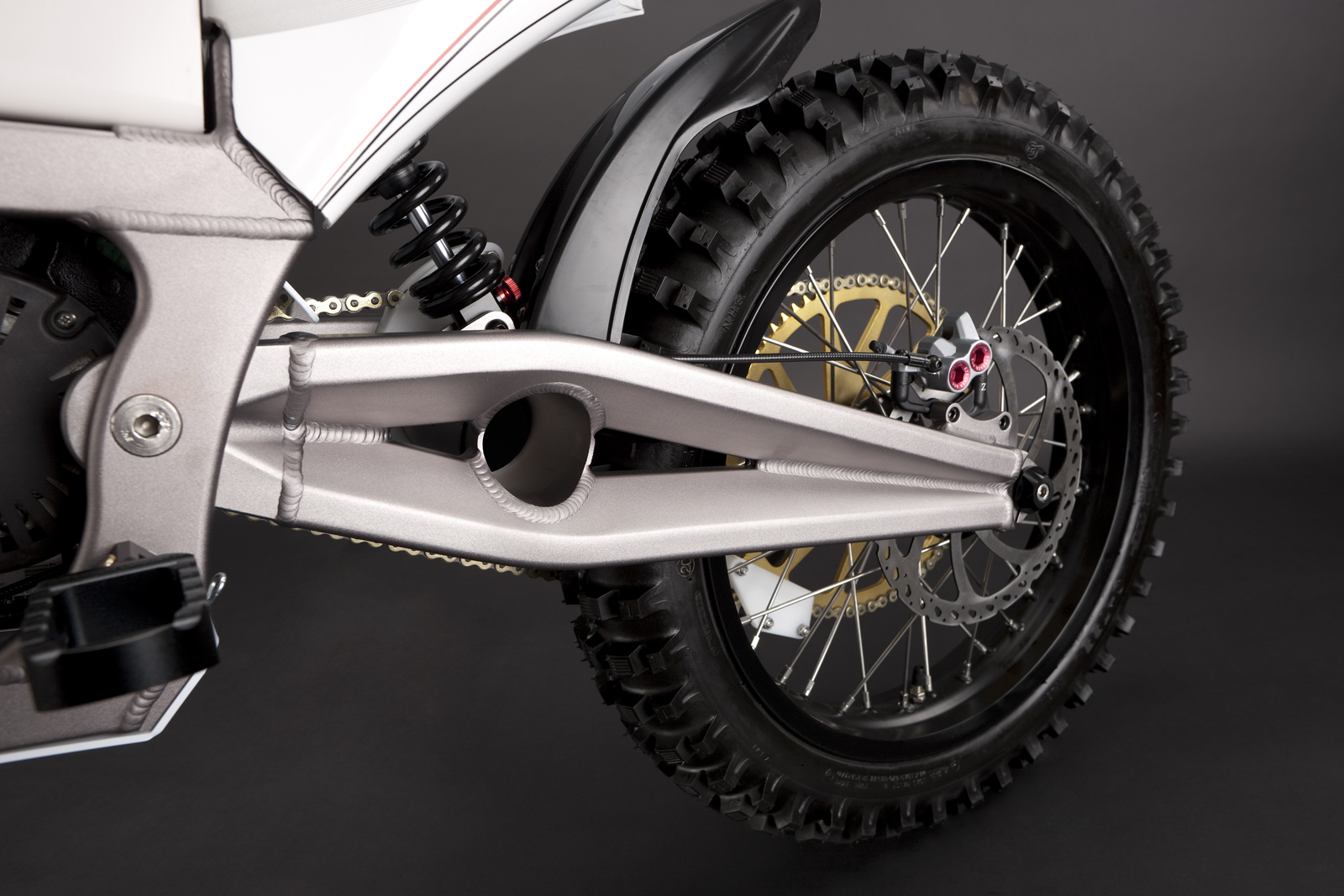 '.2010 Zero MX Electric Motorcycle: Rear Tire / Rear Shock.'