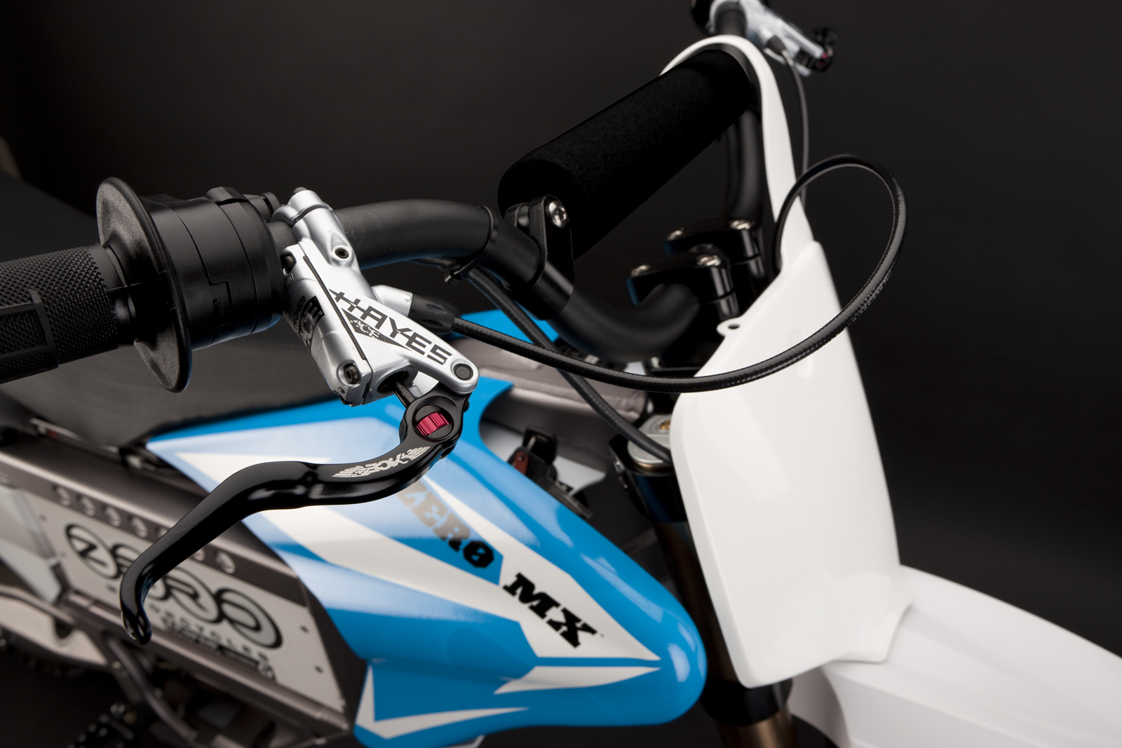 '.2010 Zero MX Electric Motorcycle: Front Brake Hand.'
