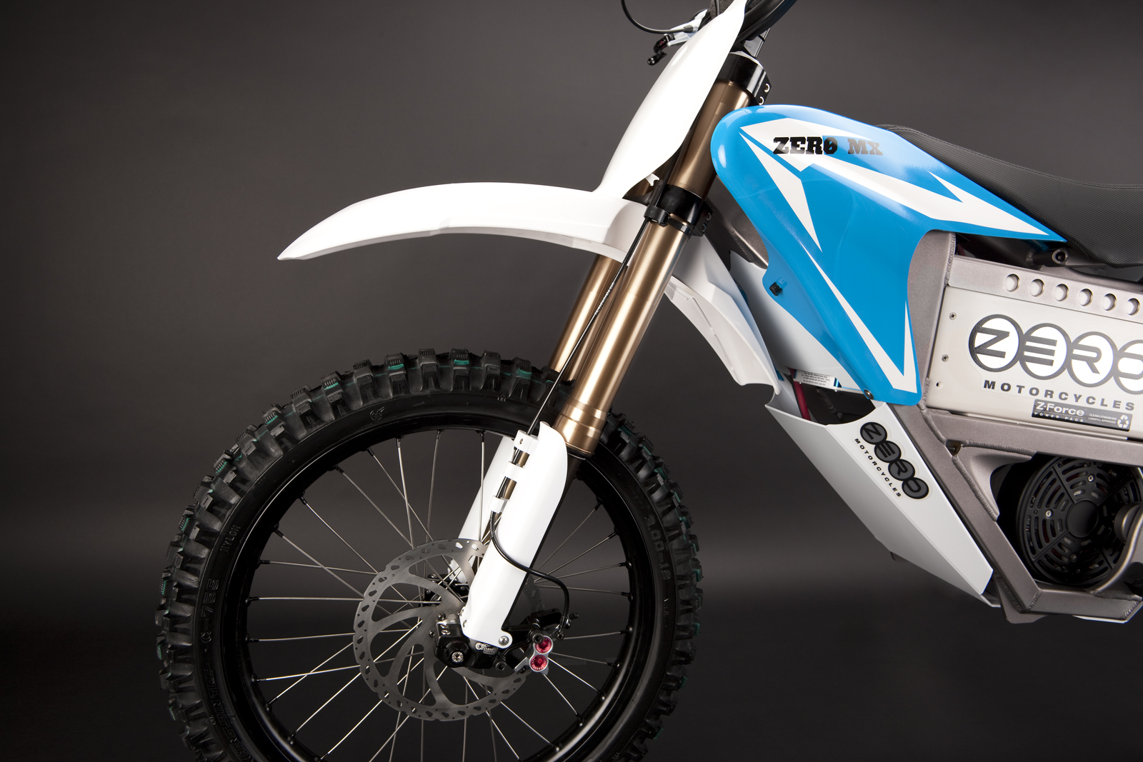 '.2010 Zero MX Electric Motorcycle: Front Fork Blue.'