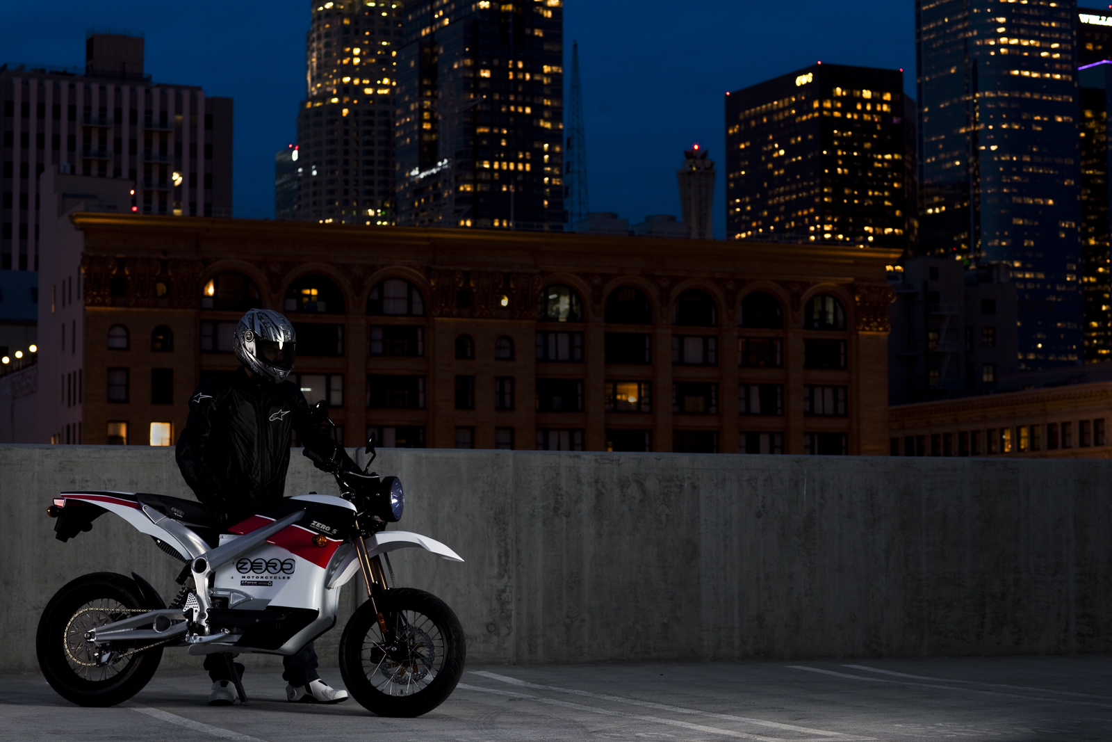 '.2010 Zero S Electric Motorcycle: Los Angeles - City Lights.'