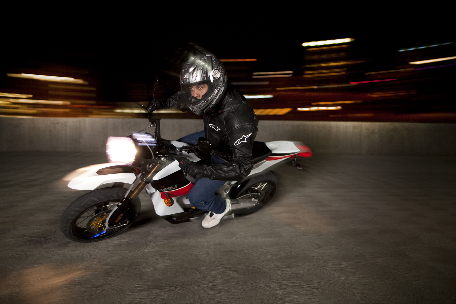 '.2010 Zero S Electric Motorcycle: Los Angeles - Garage Nightime.'