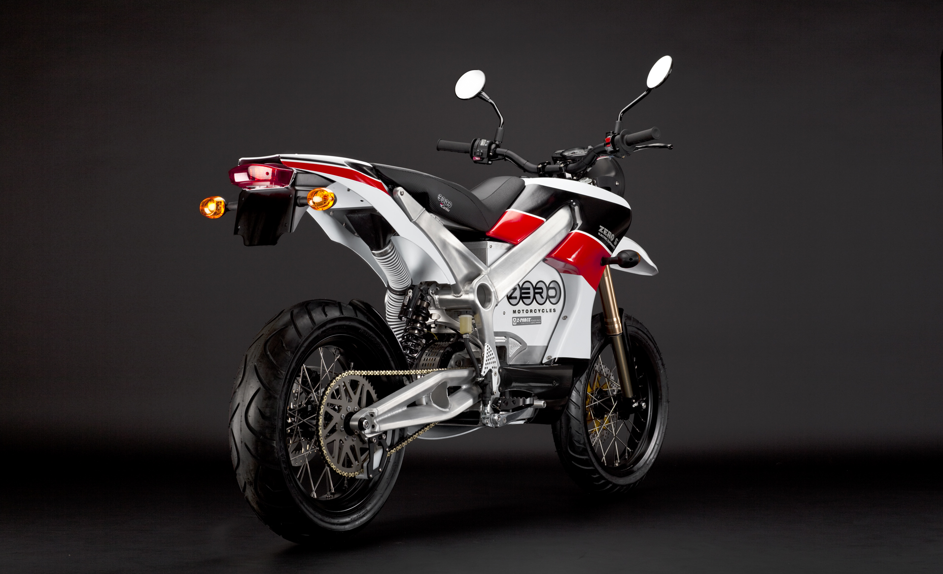 '.2010 Zero S Electric Motorcycle: Red Angle Rear.'