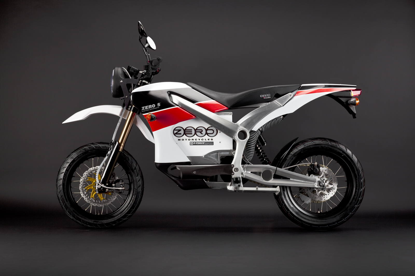 '.2010 Zero S Electric Motorcycle: Red Profile Left.'