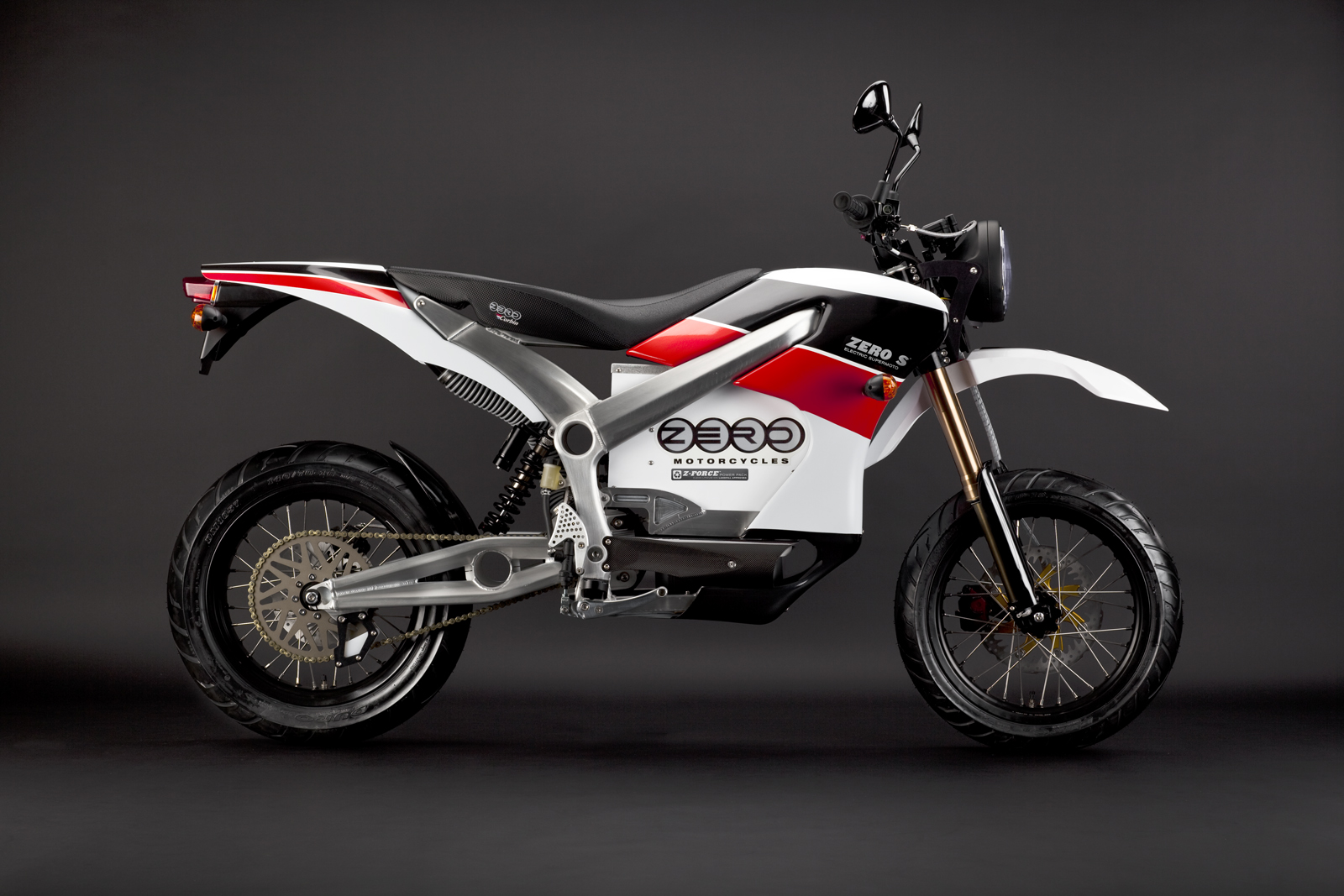 '.2010 Zero S Electric Motorcycle: Red Profile Right.'