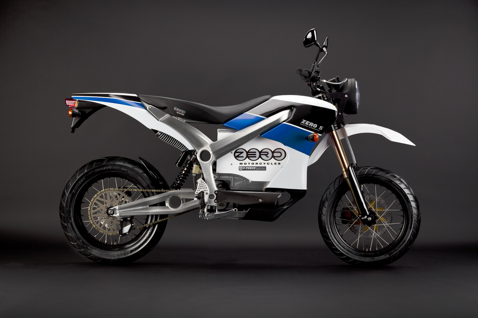 '.2010 Zero S Electric Motorcycle: Blue Profile Right.'