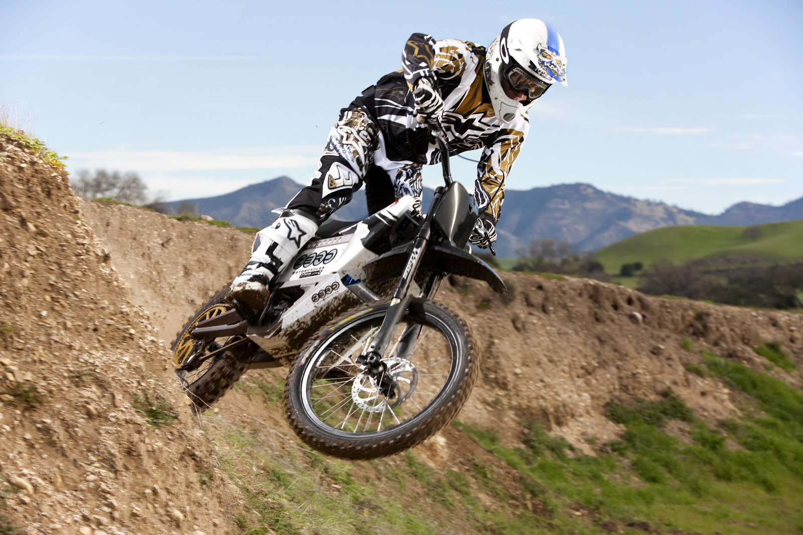 '.2010 Zero X Electric Motorcycle: Zaca Station - Jump Off Wall Burm.'