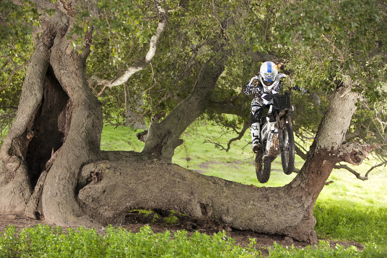 '.2010 Zero X Electric Motorcycle: Zaca Station - Tree Jump.'