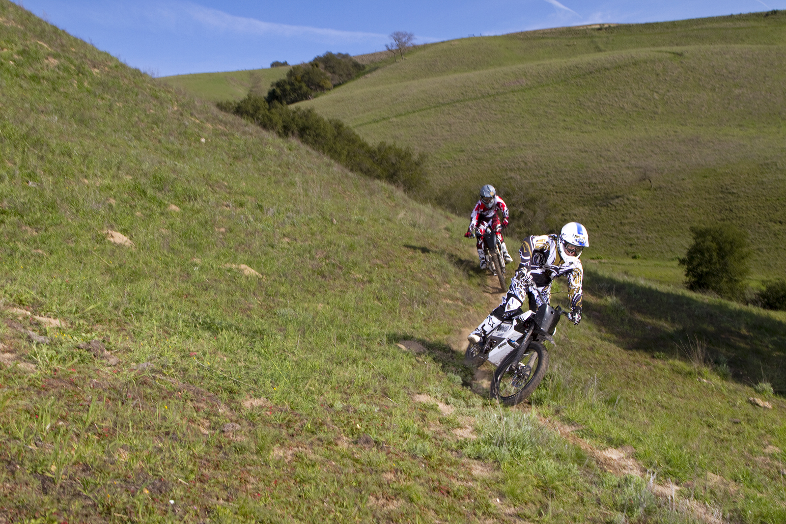 '.2010 Zero X Electric Motorcycle: Zaca Station - Two Single Track Riders.'