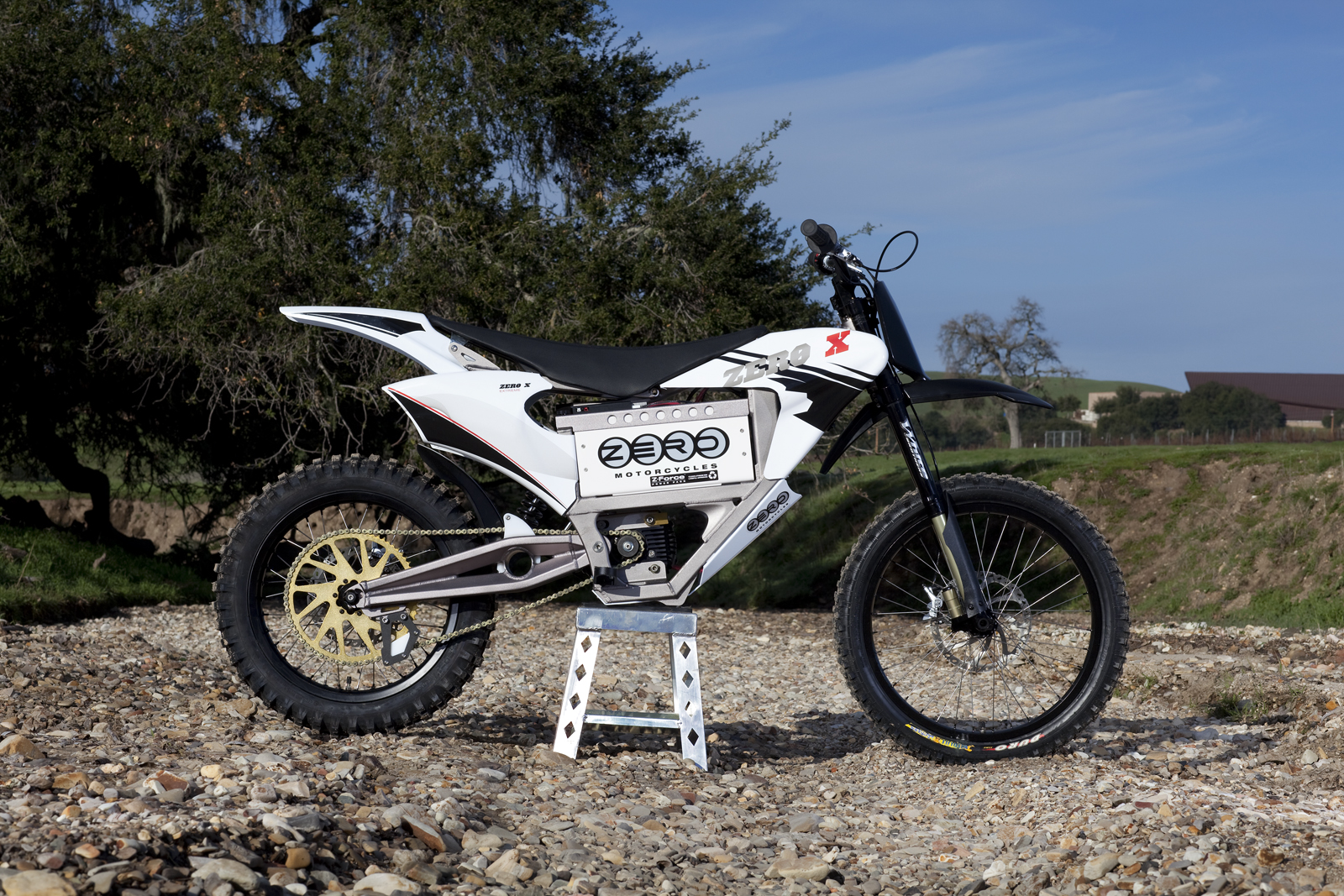 '.2010 Zero X Electric Motorcycle: Zaca Station - Creek.'