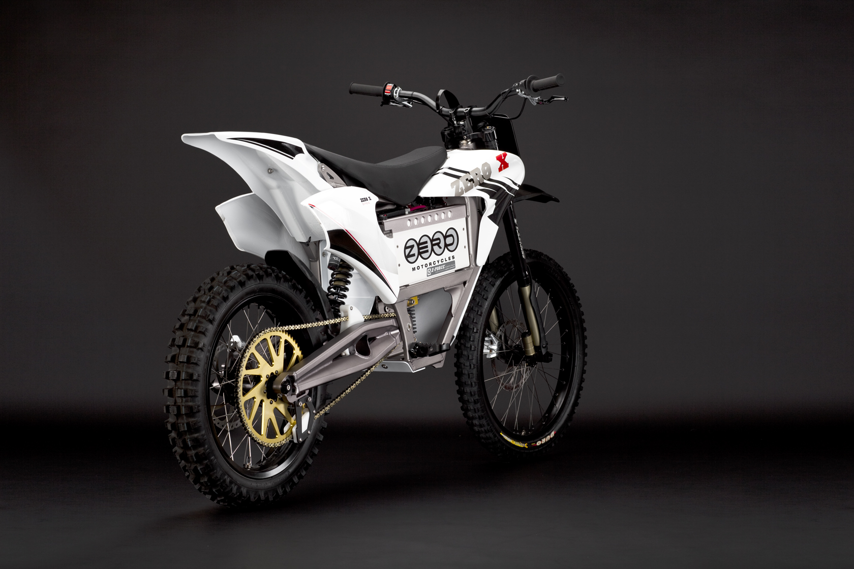 '.2010 Zero X Electric Motorcycle: Red Angle Rear.'