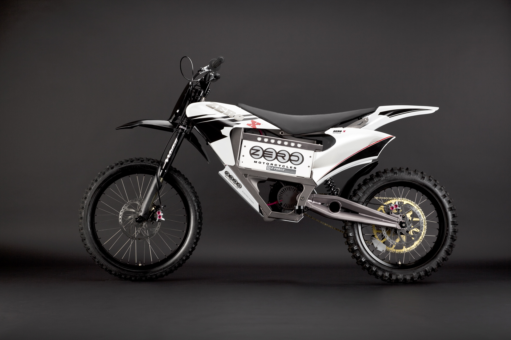 '.2010 Zero X Electric Motorcycle: Red Profile Left.'