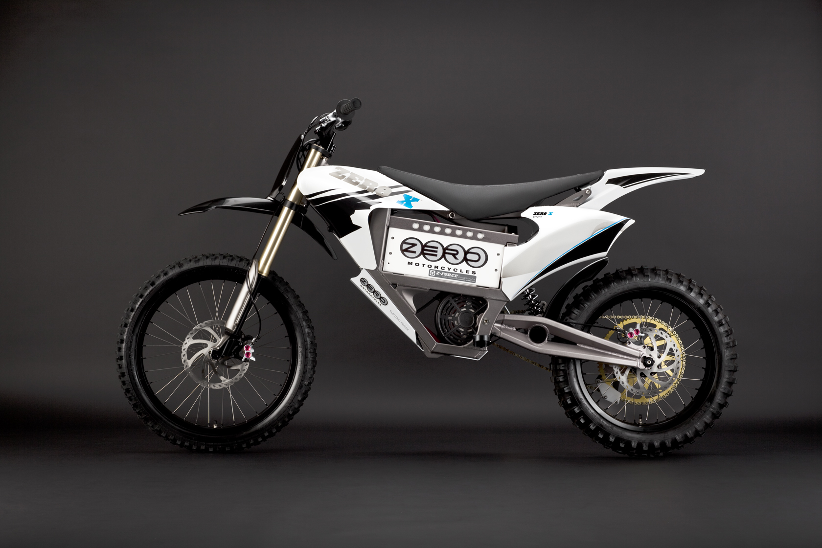 '.2010 Zero X Electric Motorcycle: Blue Profile Left.'