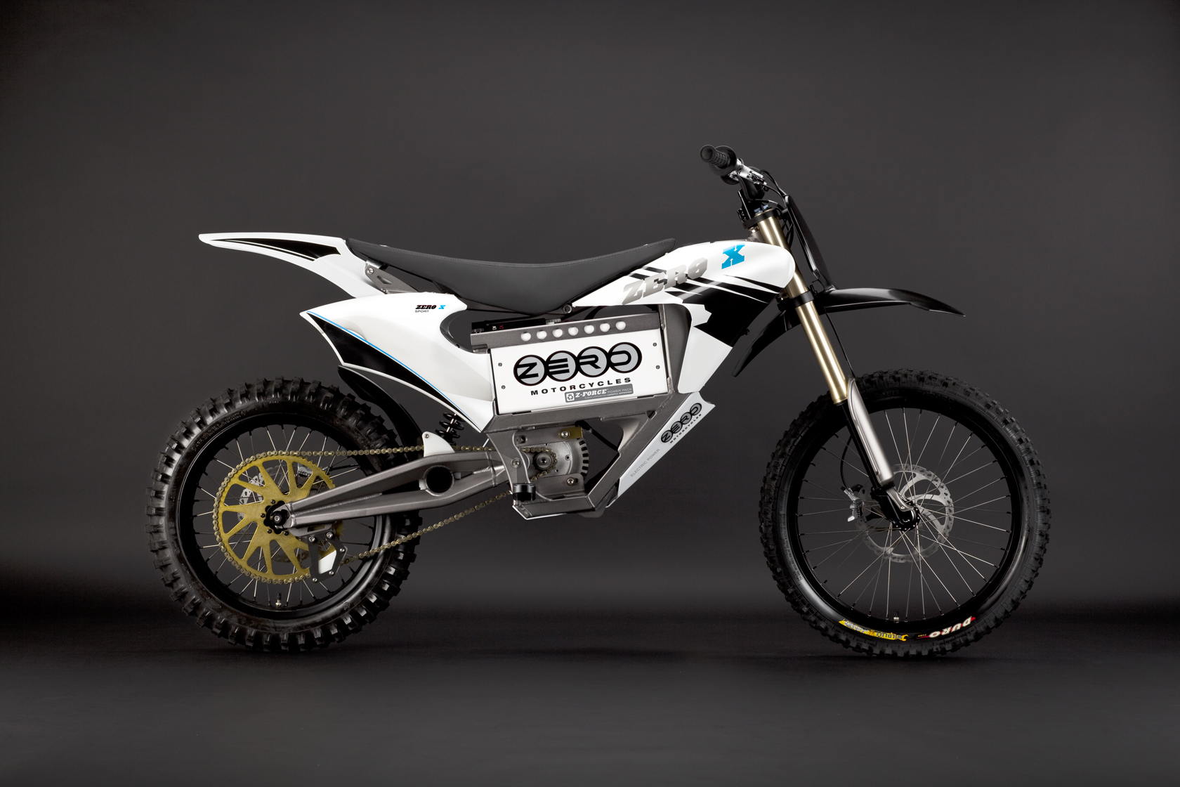 '.2010 Zero X Electric Motorcycle: Blue Profile Right.'
