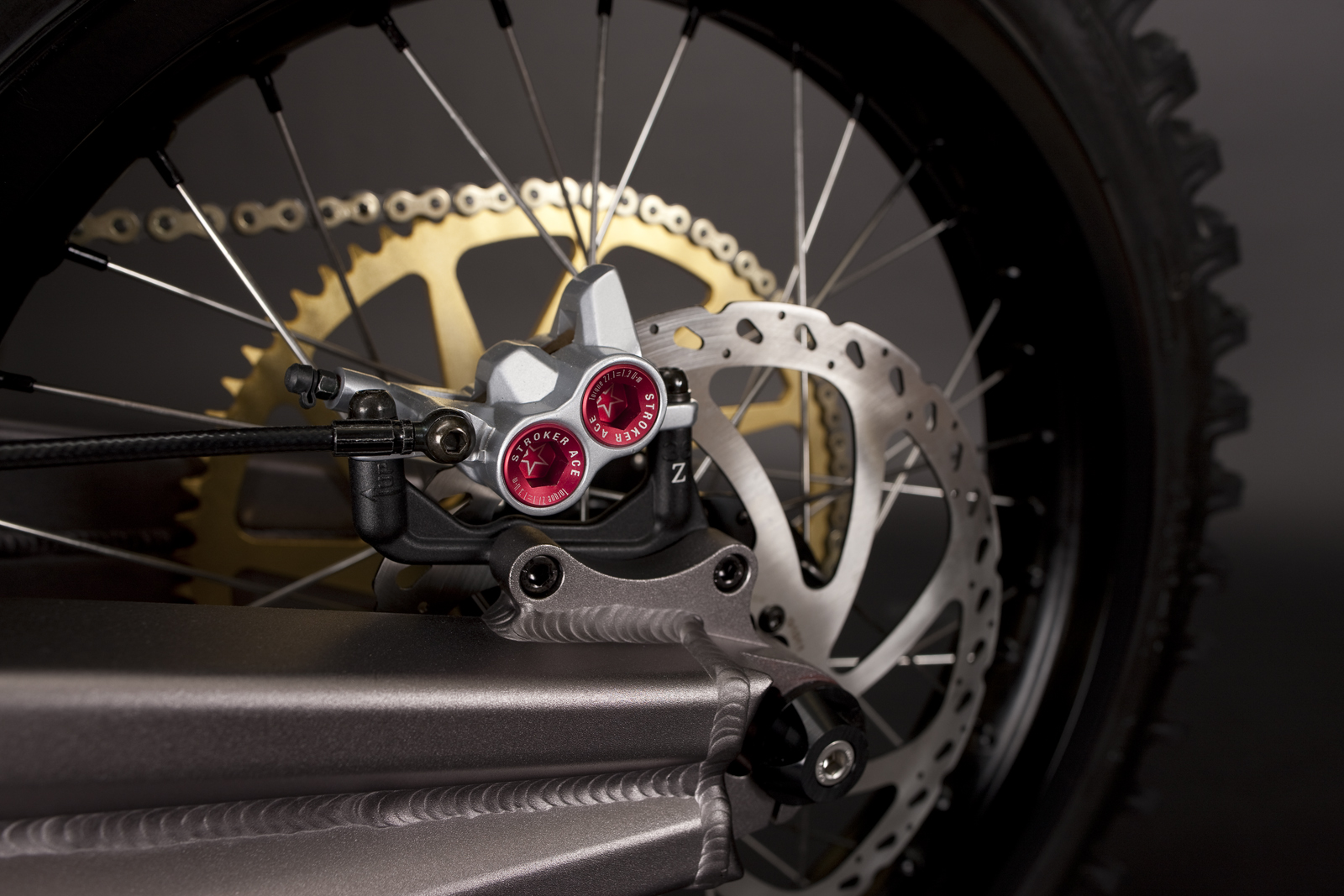 '.2010 Zero X Electric Motorcycle: Rear Brake.'