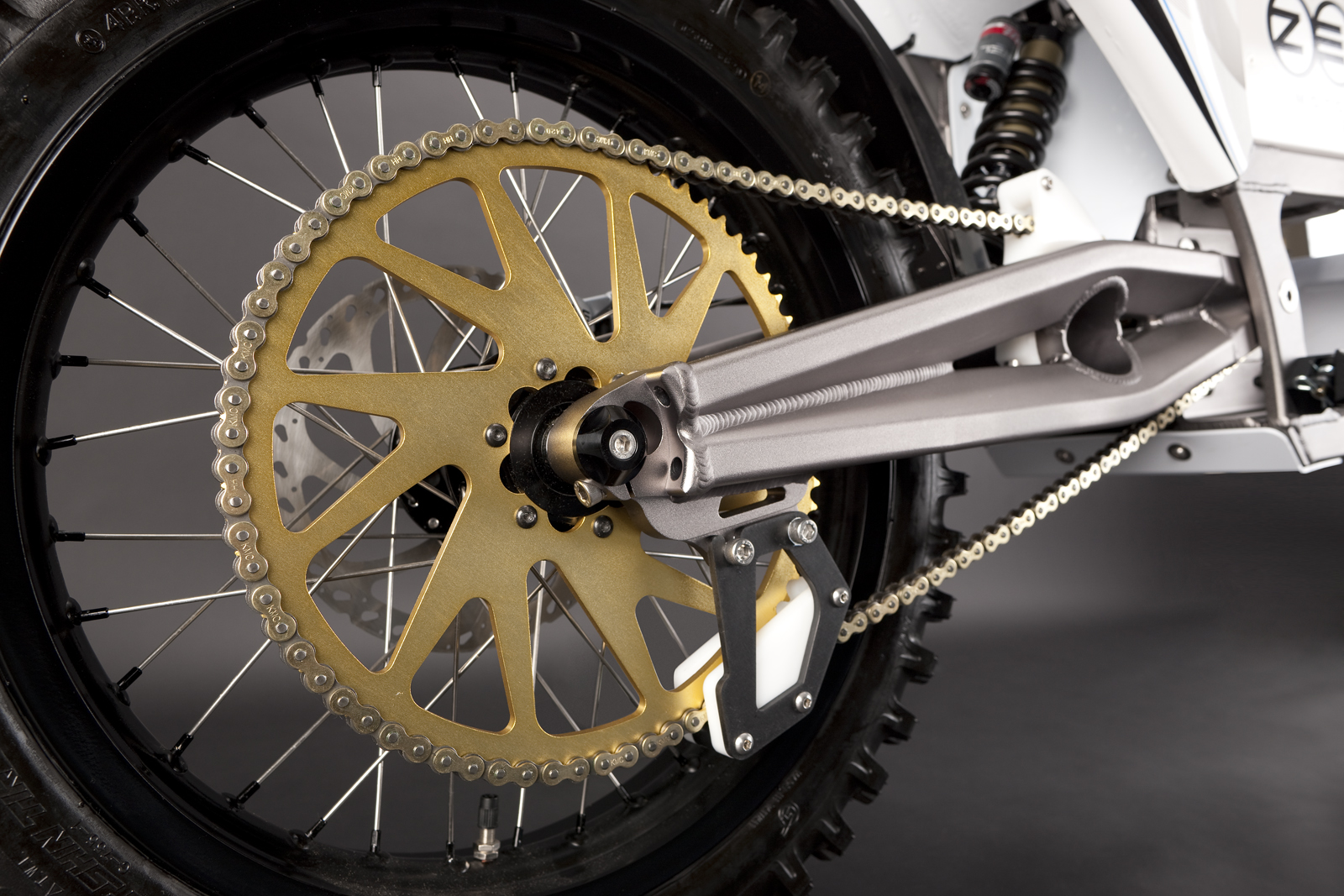 '.2010 Zero X Electric Motorcycle: Rear Tire / Rear Shock.'