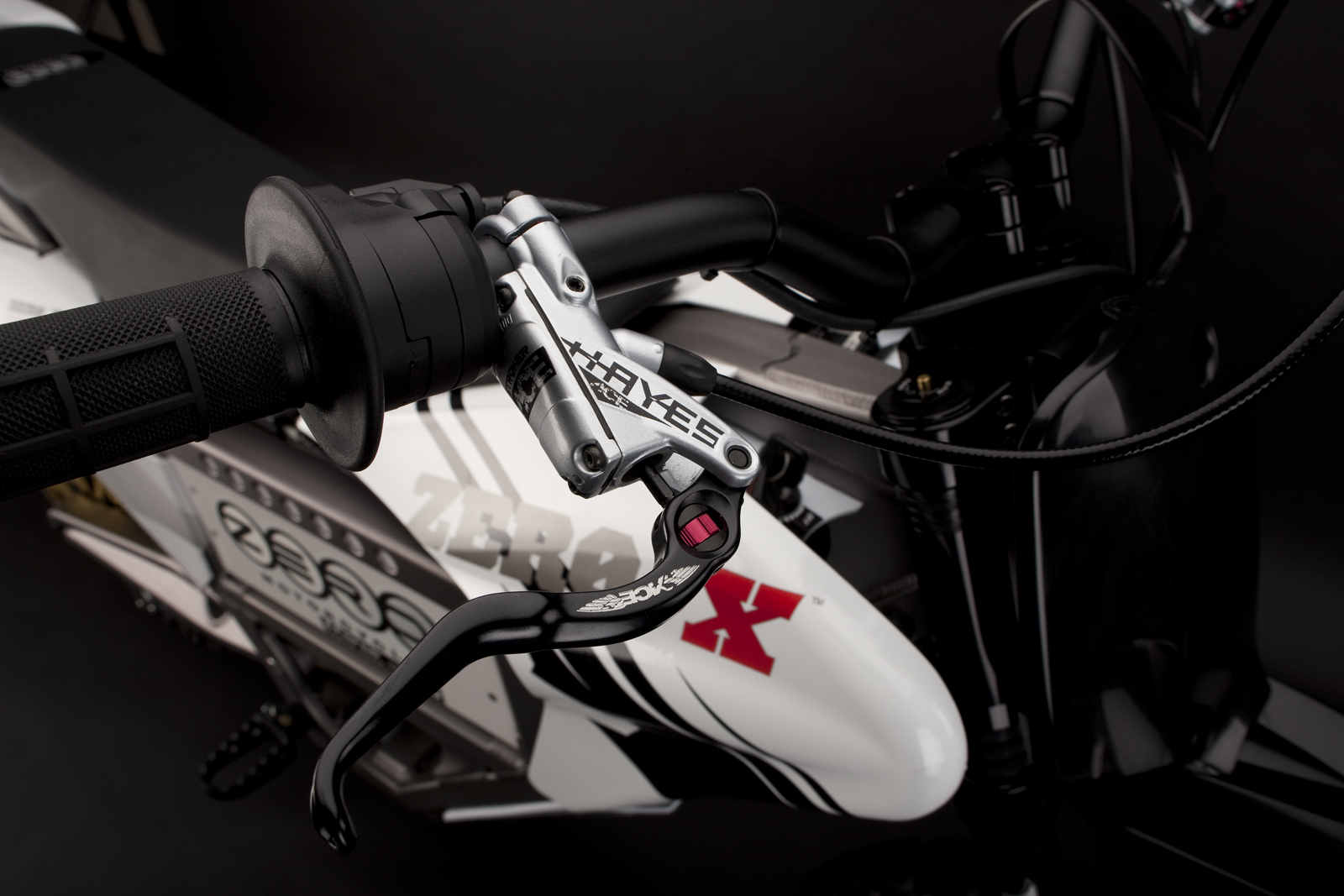 '.2010 Zero X Electric Motorcycle: Front Brake Hand.'