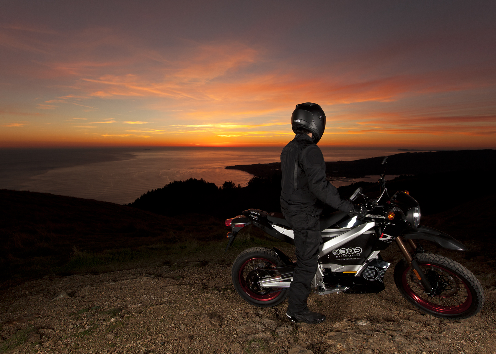 '.2011 Zero DS Electric Motorcycle: Profile at Sunset.'