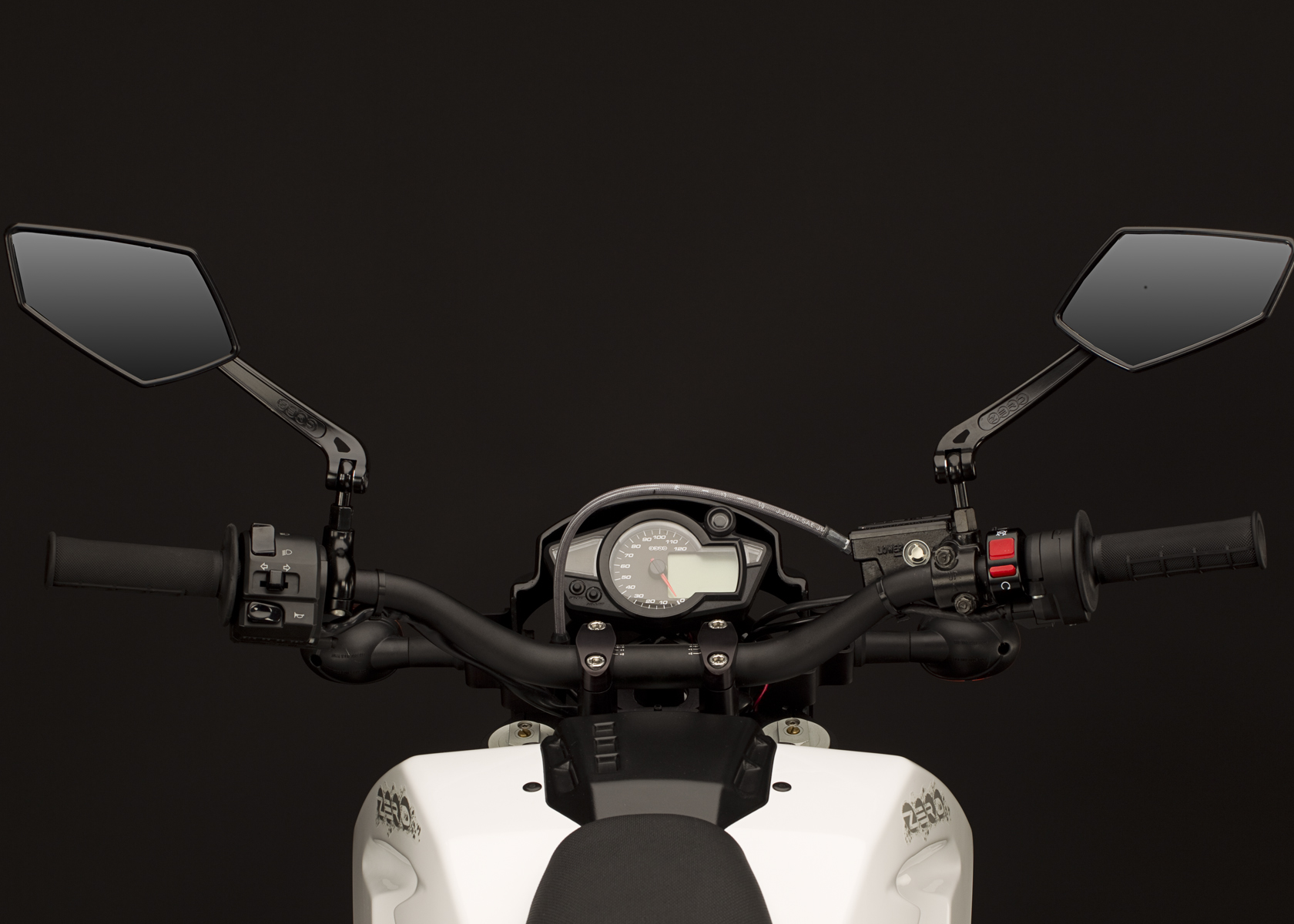 '.2011 Zero DS Electric Motorcycle: Mirrors and Controls.'