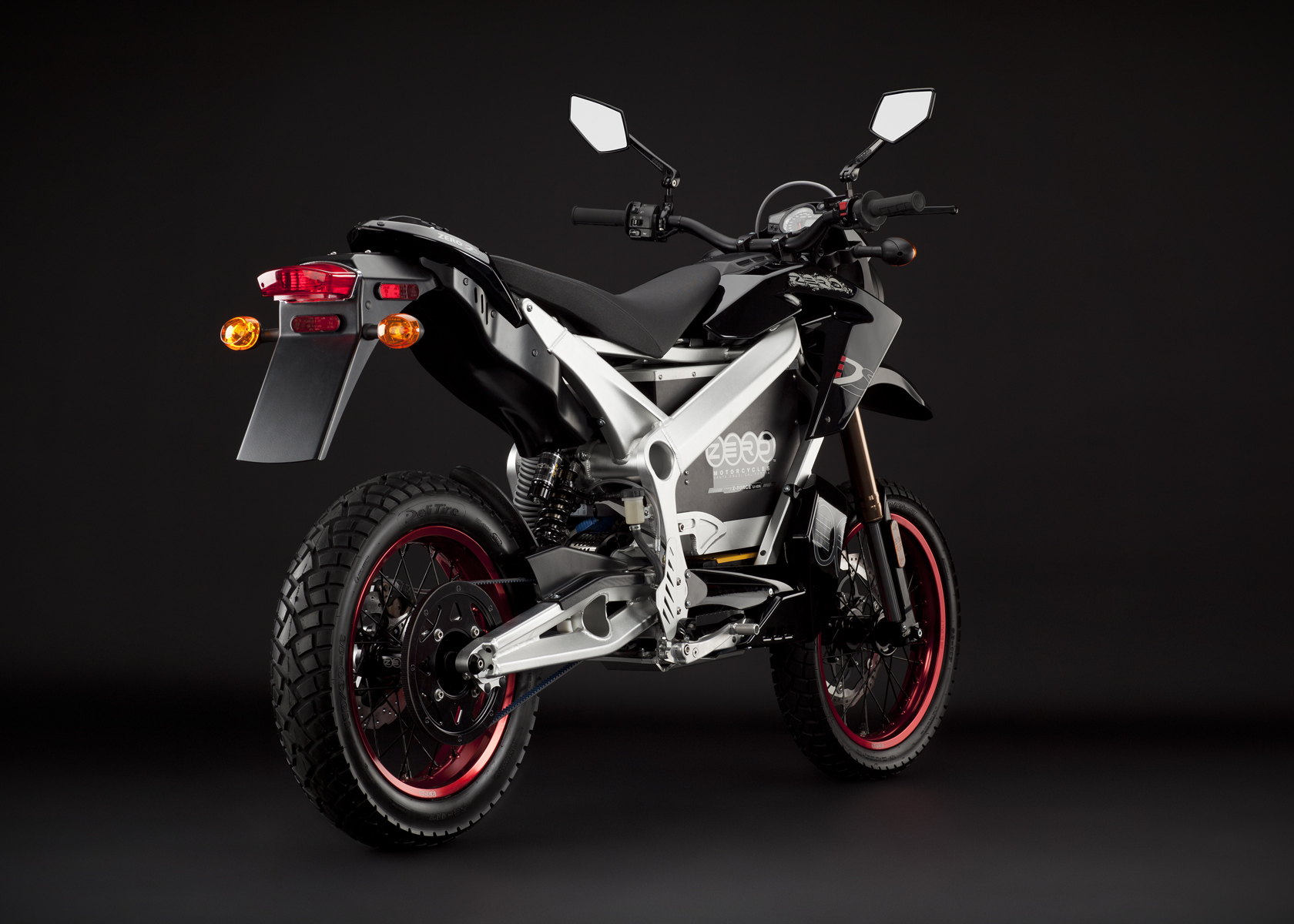 '.2011 Zero DS Electric Motorcycle: Black Angle Right, Rear View.'