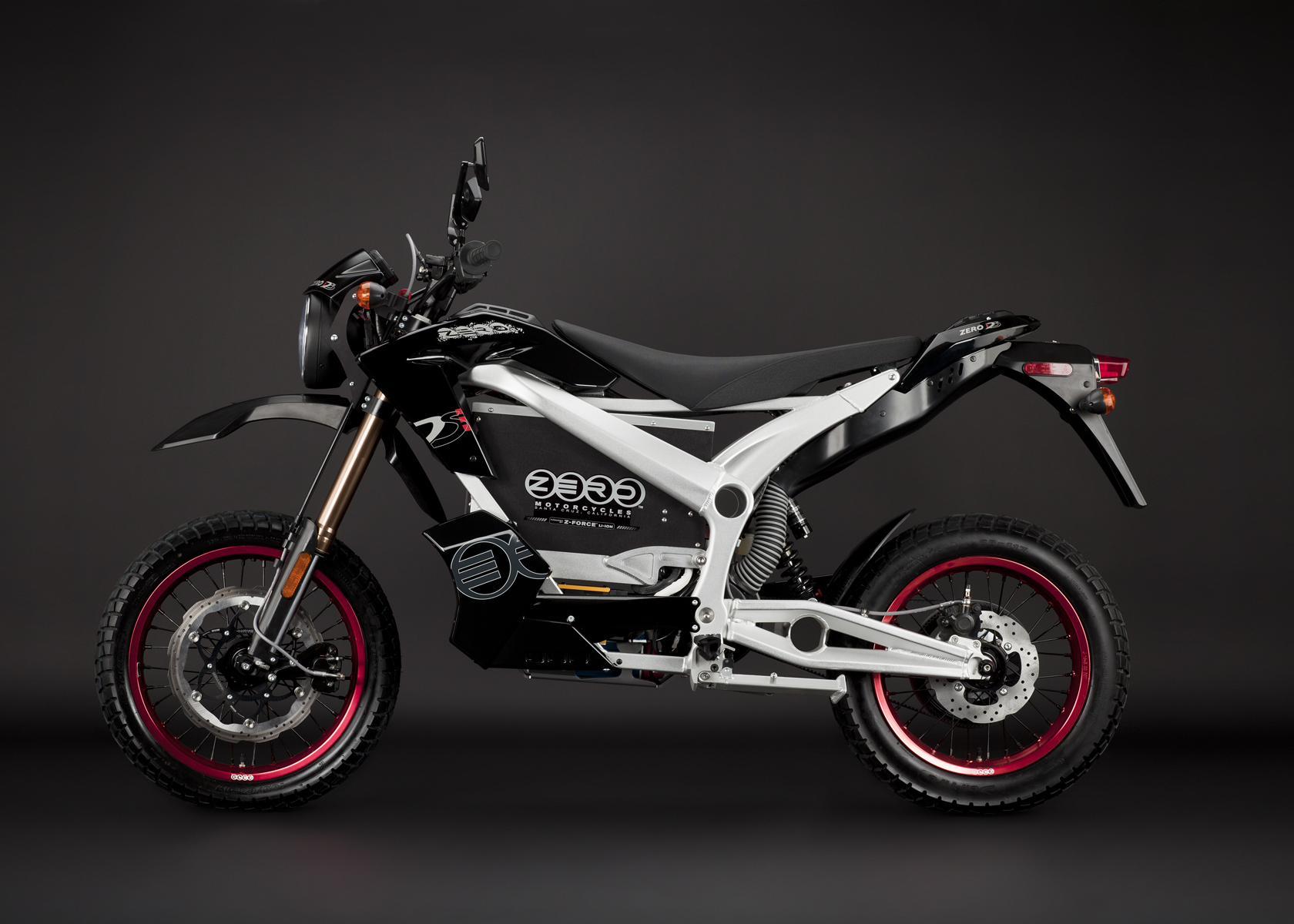 '.2011 Zero DS Electric Motorcycle: Black Profile Left.'