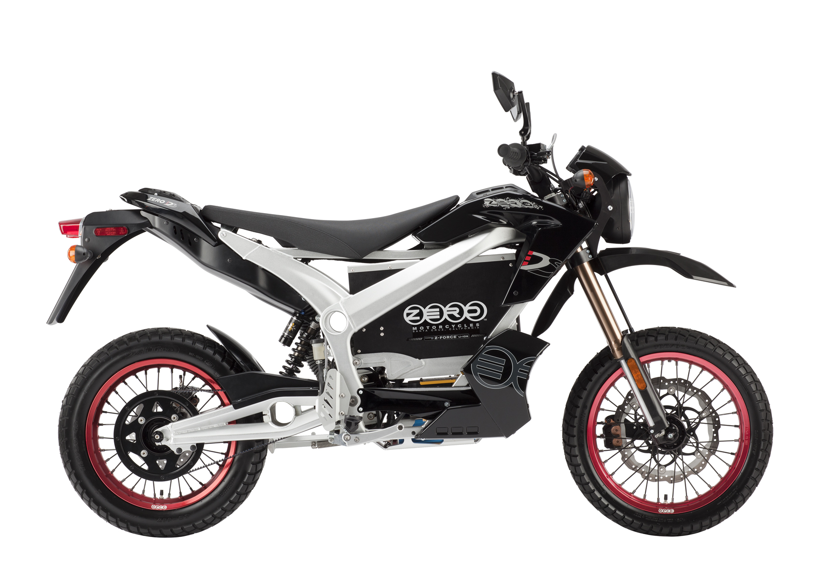 '.2011 Zero DS Electric Motorcycle: Black Profile Right, White Background.'