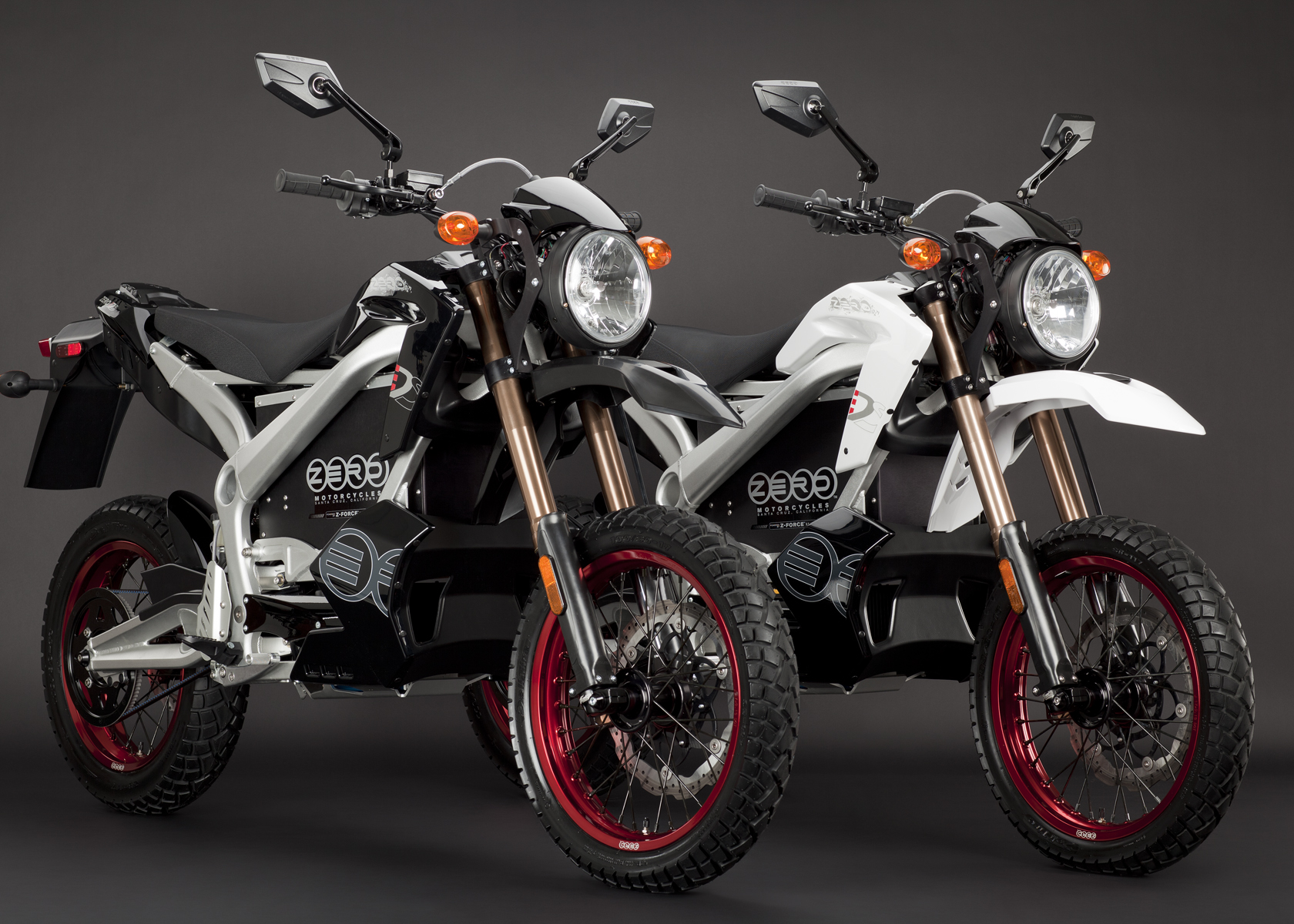 '.2011 Zero DS Electric Motorcycle: Pair, White and Black.'