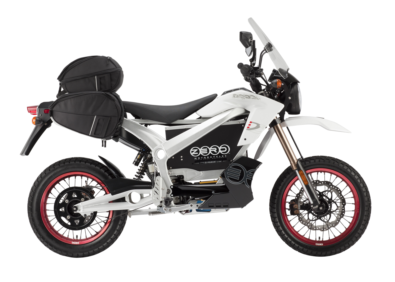 '.2011 Zero DS Electric Motorcycle: White with Side Bags, White Background.'