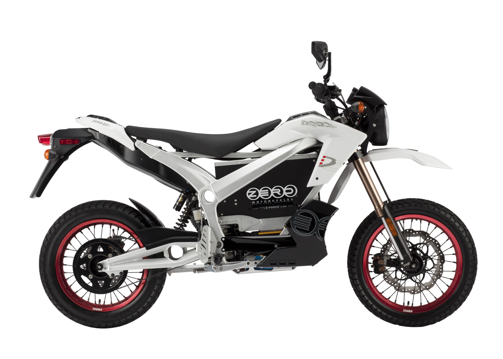 '.2011 Zero DS Electric Motorcycle: White Profile Right, White Background.'