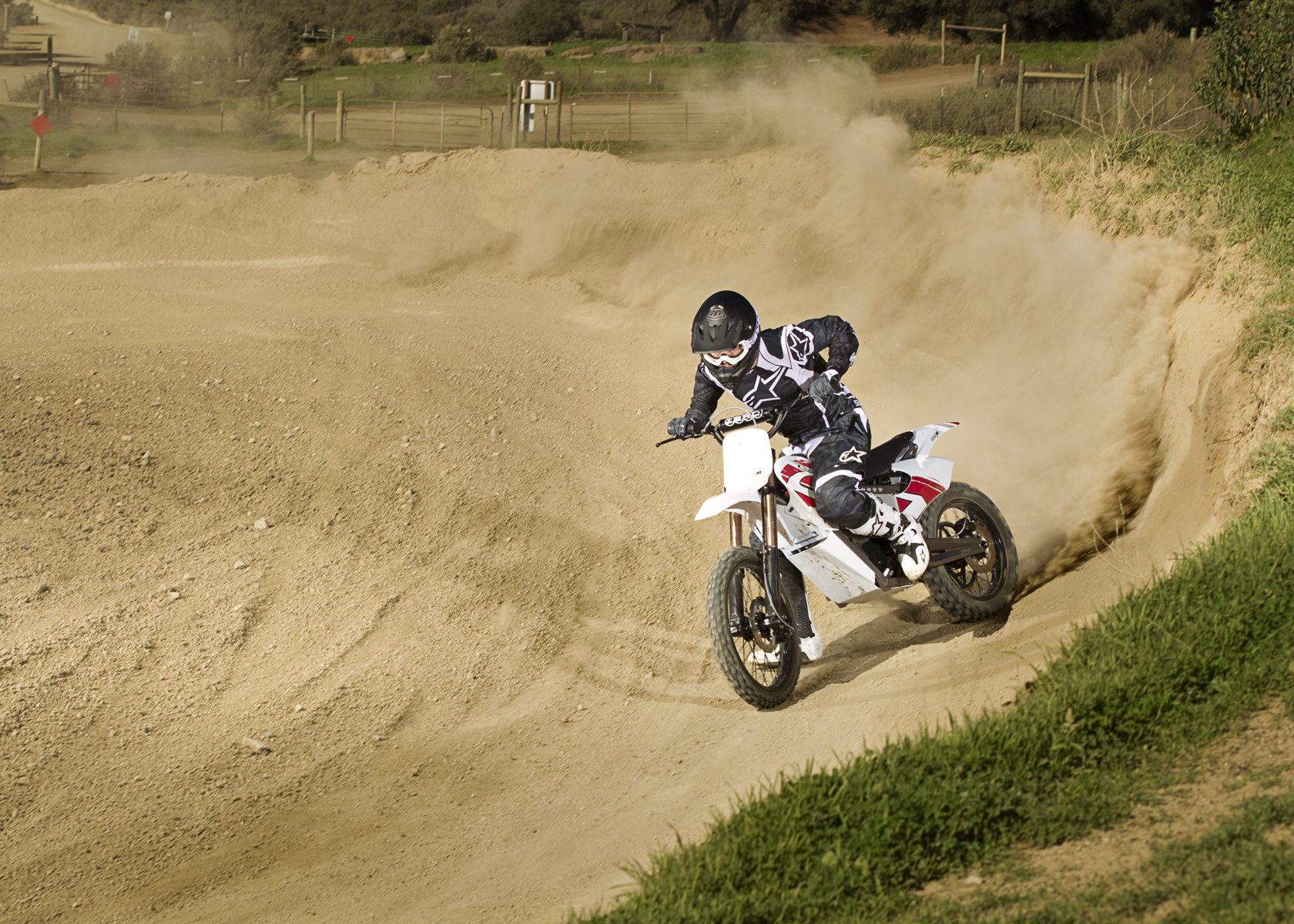 '.2011 Zero MX Electric Motorcycle: Turn on Track, Foot Down.'