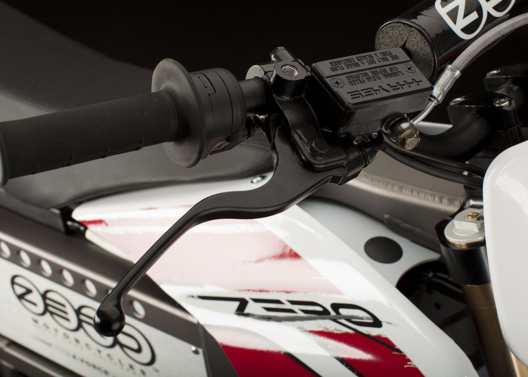 '.2011 Zero MX Electric Motorcycle: Front Hand Brake.'