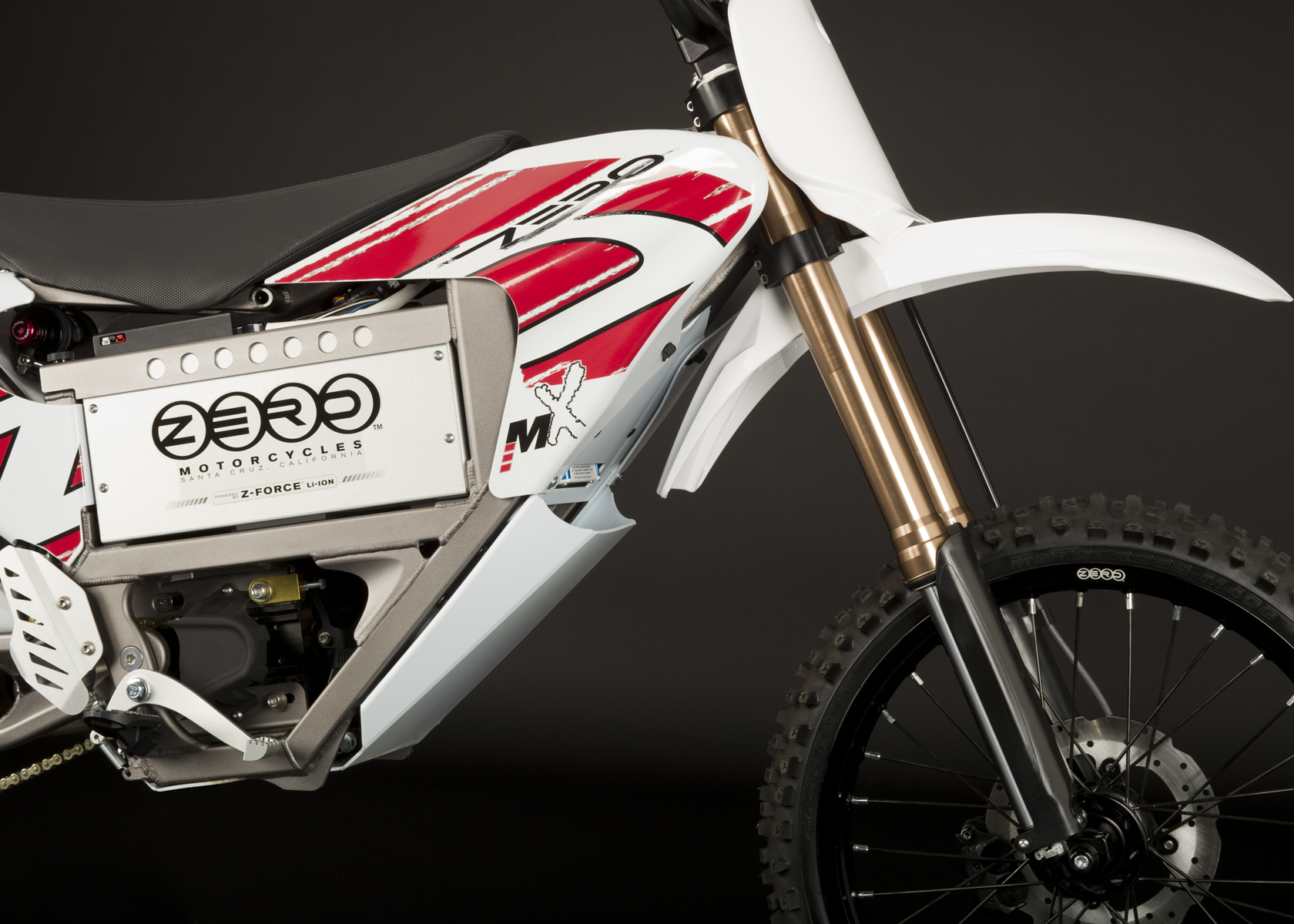 '.2011 Zero MX Electric Motorcycle: Front Fork.'