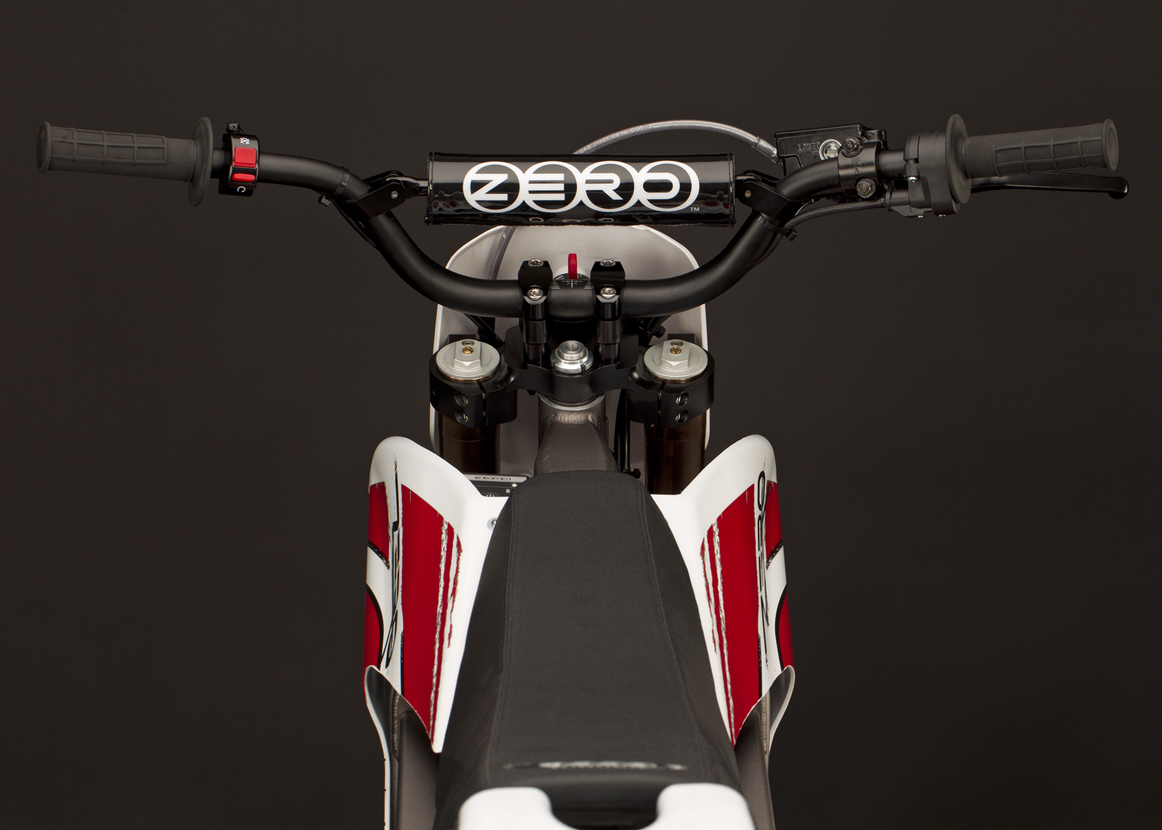'.2011 Zero MX Electric Motorcycle: Handlebars.'