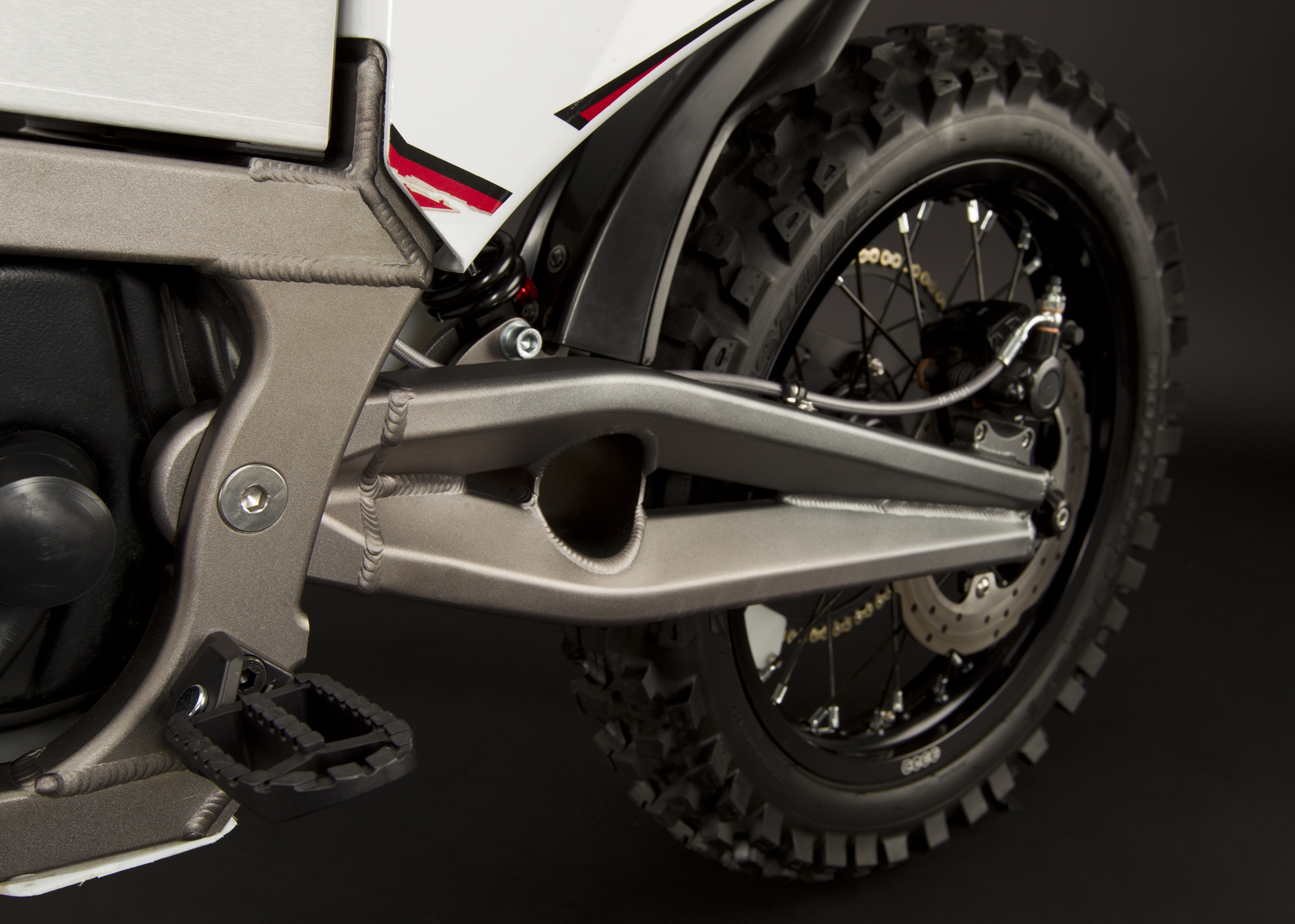 '.2011 Zero MX Electric Motorcycle: Rear tire / Rear shock.'