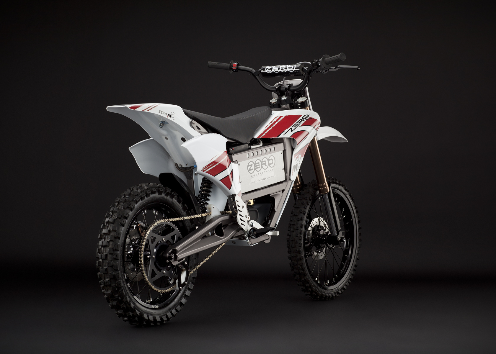 '.2011 Zero MX Electric Motorcycle: Angle Right, Rear View, Dirt Model.'