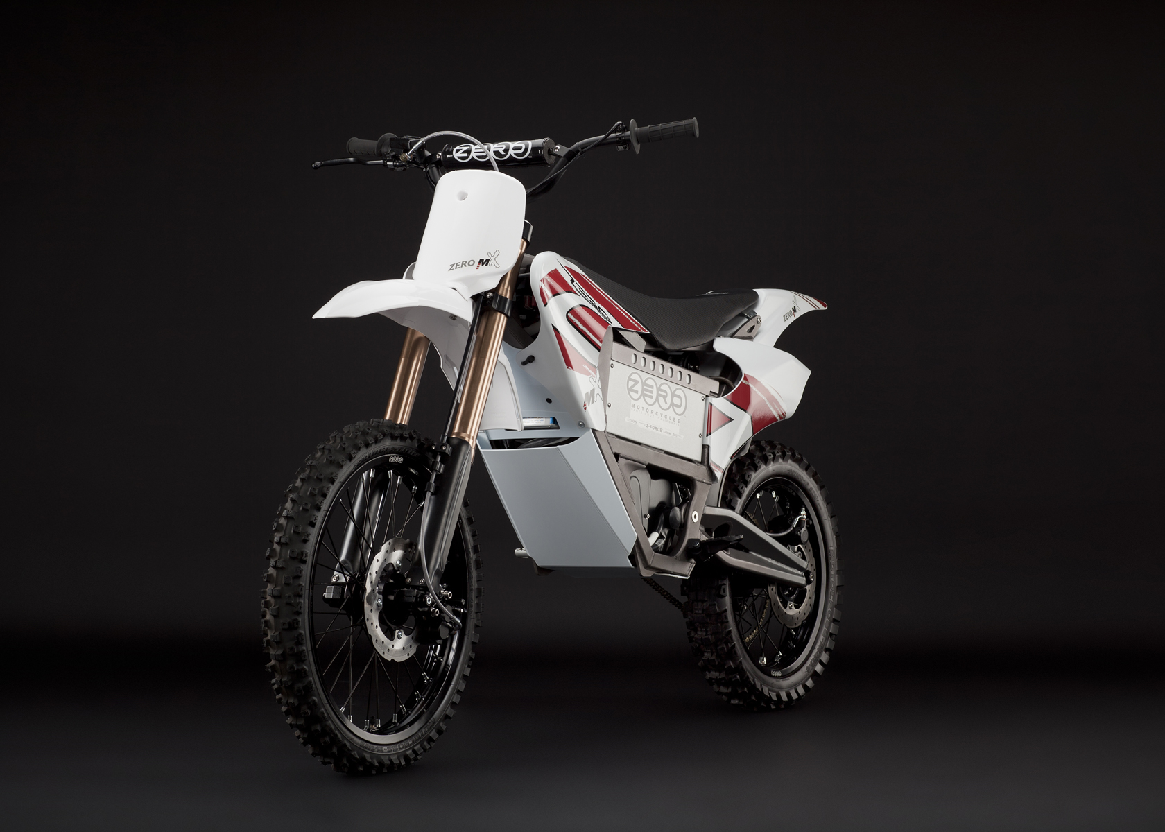 '.2011 Zero MX Electric Motorcycle: Angle Left, Dirt Model.'