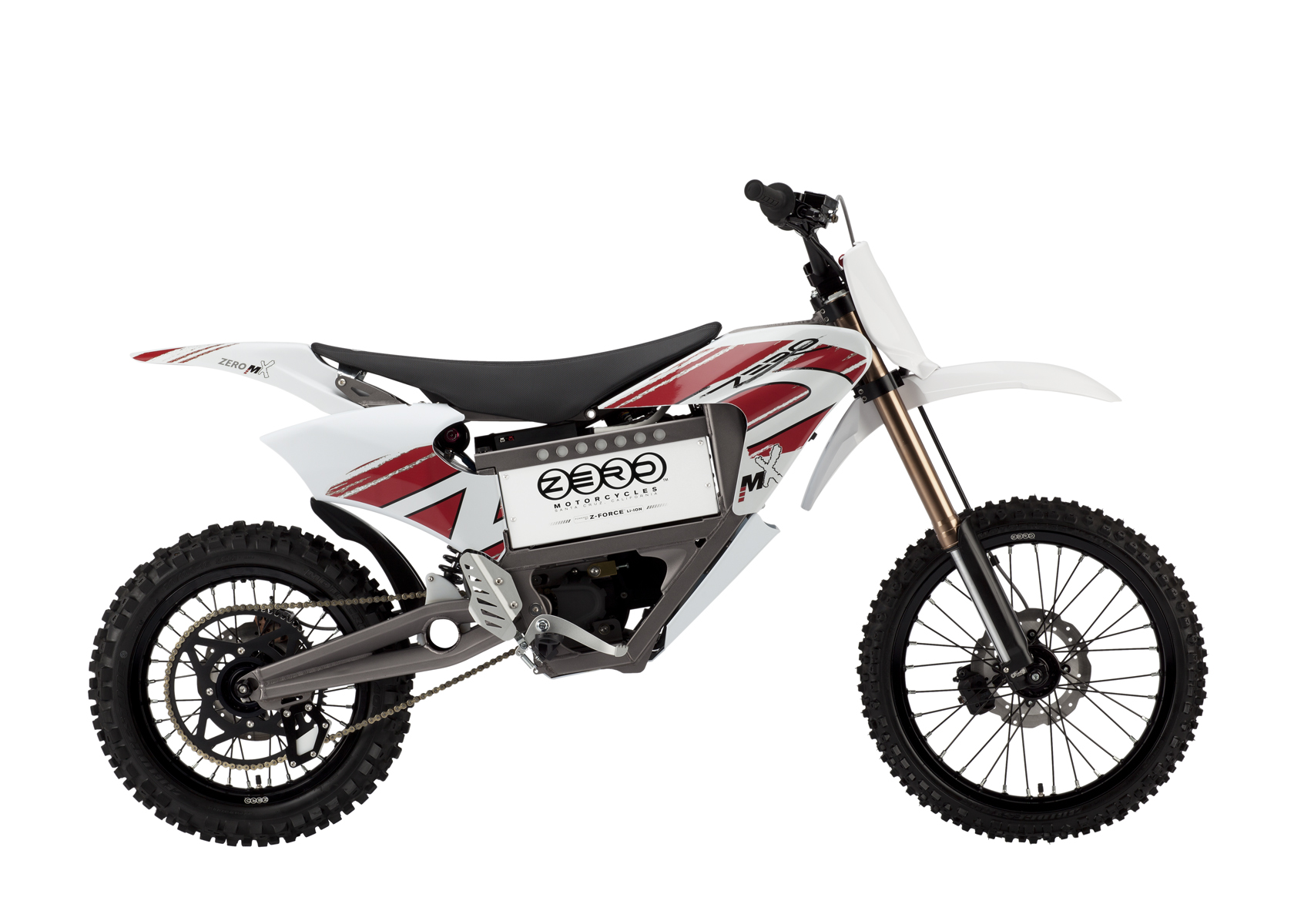 '.2011 Zero MX Electric Motorcycle: Right Profile, Dirt Model, White Background.'